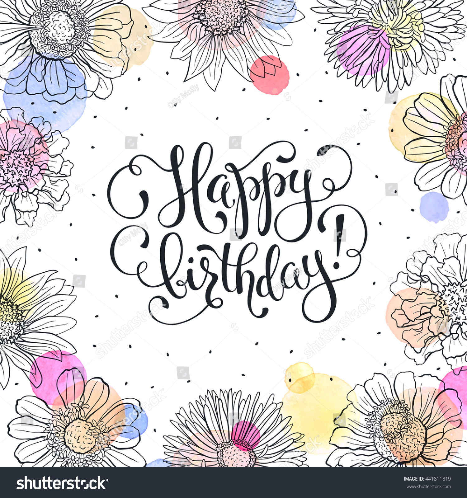 Happy birthday greeting card sketch flowers stock vector 441811819 happy birthday greeting card sketch flowers frame with watercolor spots on white background birthday kristyandbryce Gallery