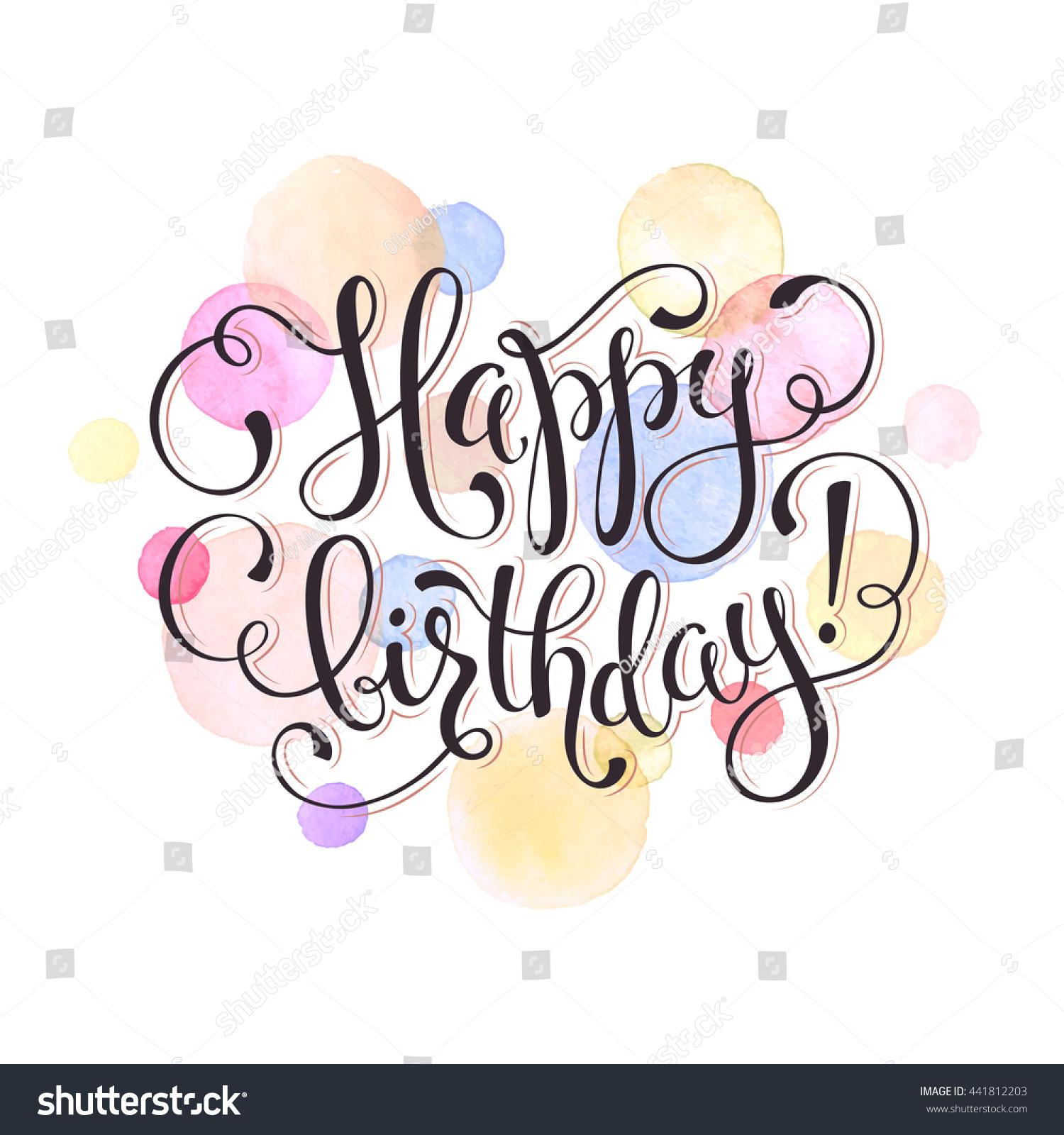 Happy Birthday Greeting Card Watercolor Spots Stock Vector Royalty