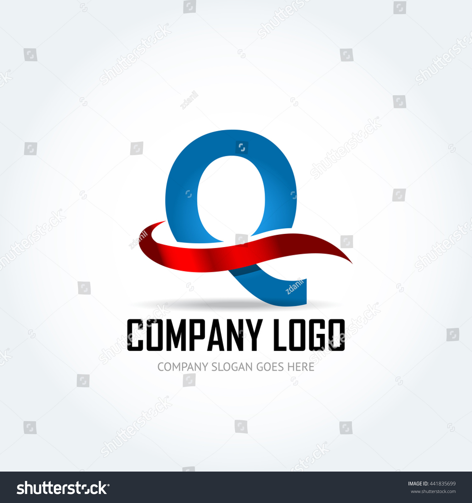 Blue Letter Q with red ribbon logo icon design template elements -  Illustration. Letter Q