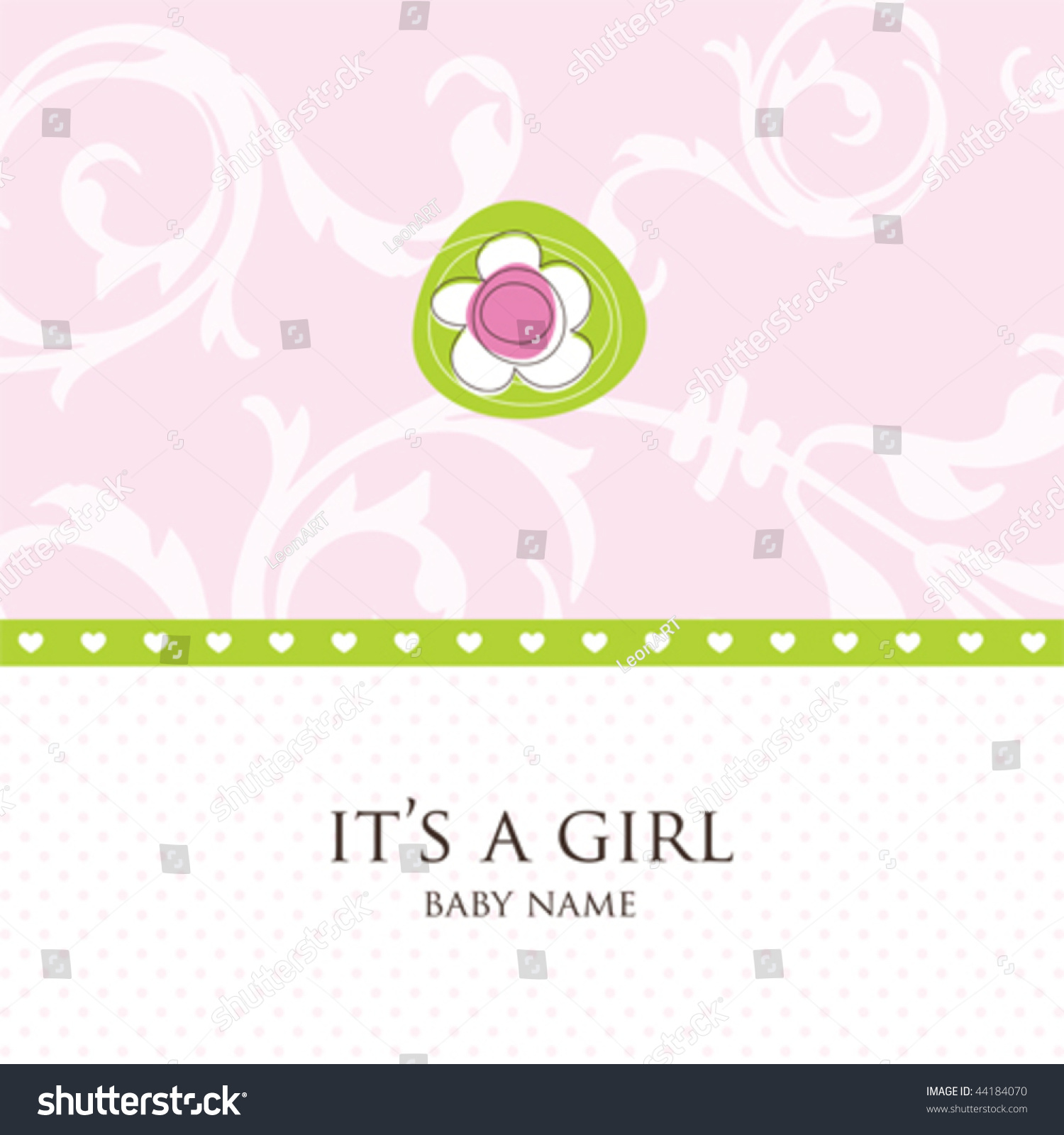 Baby girl arrival greeting card stylish stock vector royalty free baby girl arrival greeting card with stylish floral background simple unique design for greeting card m4hsunfo