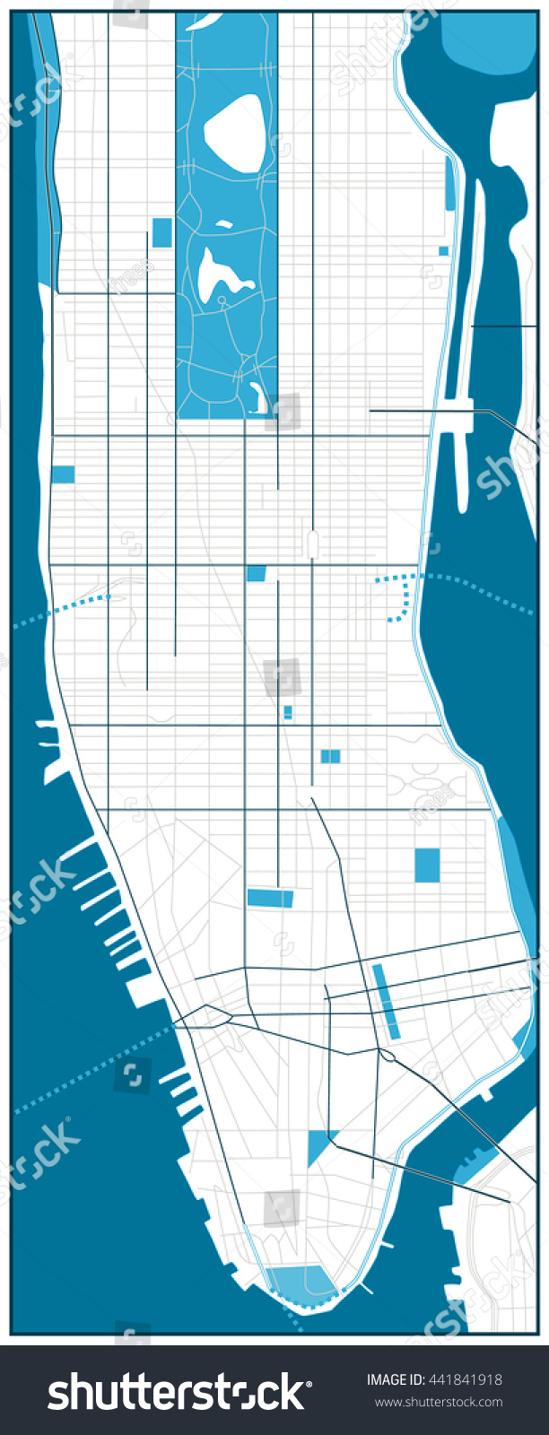 Manhattan Blank Road Map Vector Illustration Stock Vector (Royalty