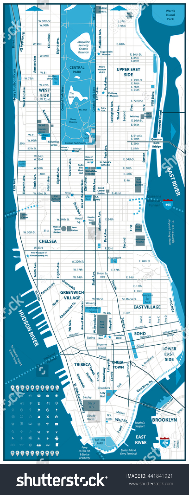Manhattan Road Map And Navigation Icons Vector Illustration – Road Navigation Map