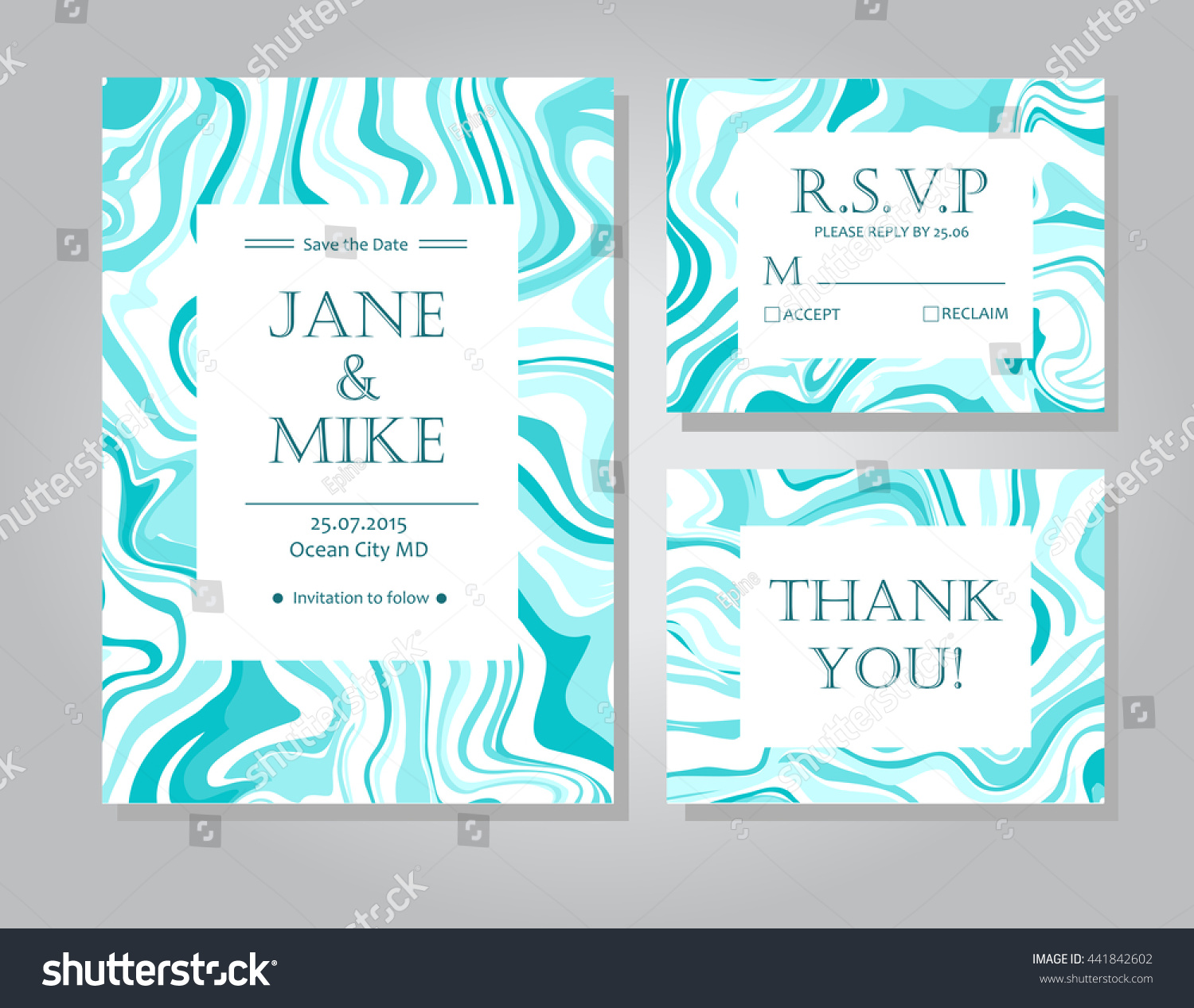 Vector Wedding Invitation Card Suite Blue Stock Vector Royalty Free