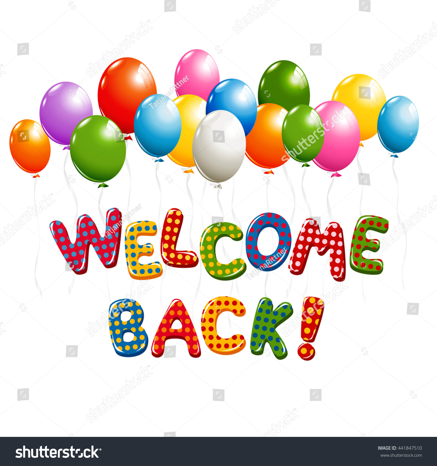 Welcome Back Text Colorful Polka Dot Stock Illustration 441847510 Shutterstock