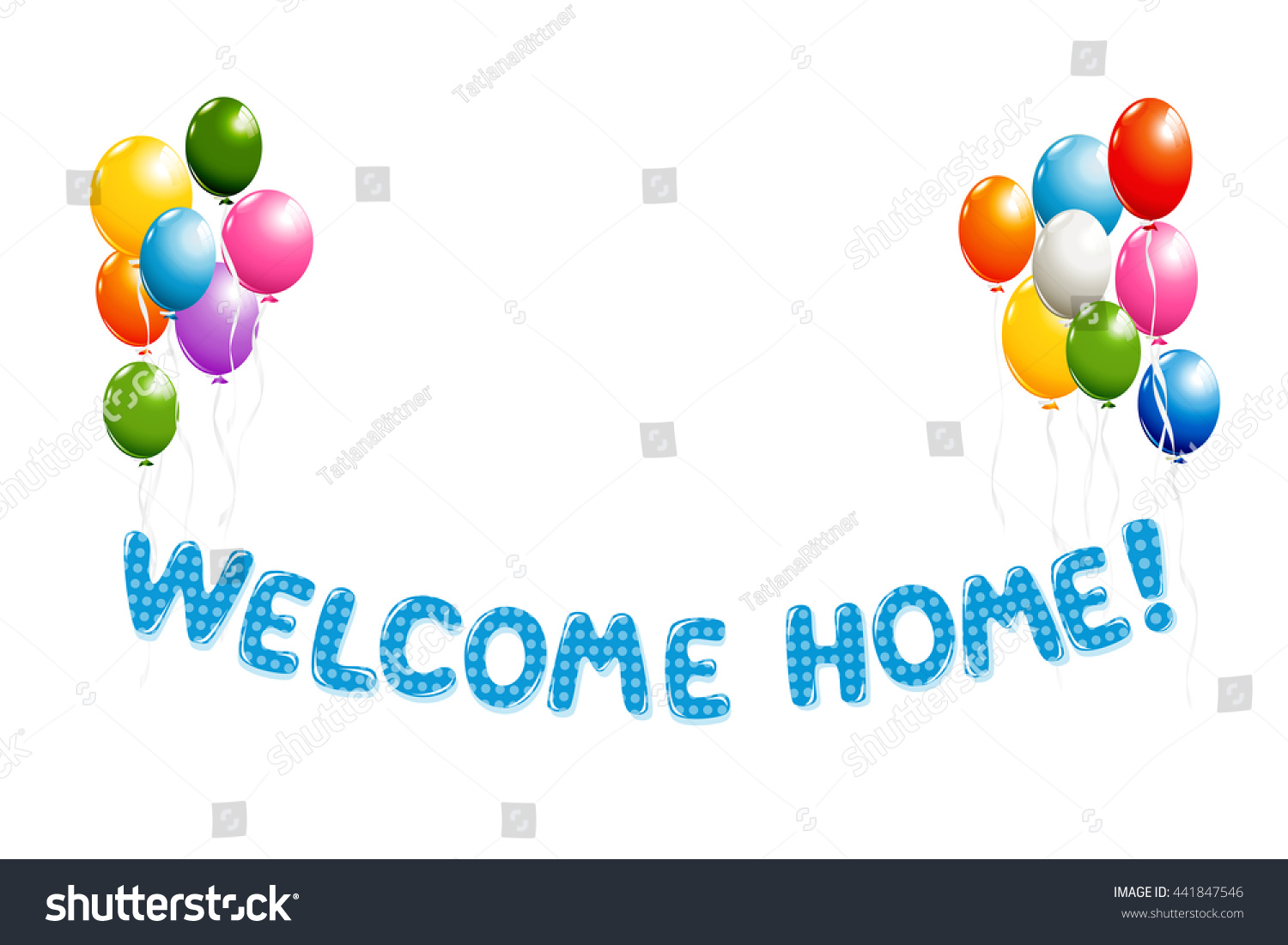 Welcome Home Text Blue Polka Dot Stock Illustration 441847546 ...