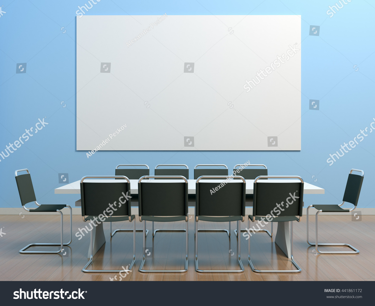 Blue Meeting Room Office Table Chairs Stock Illustration