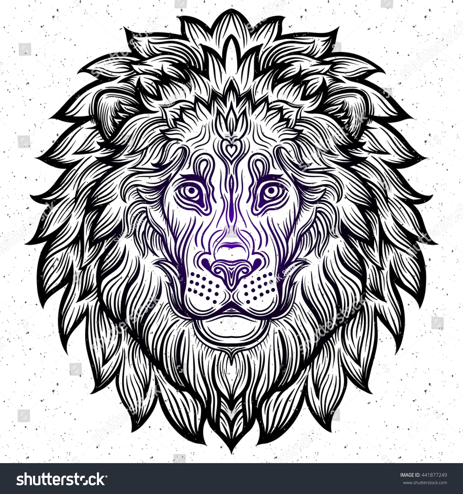 Detailed Line Drawings Of Animals : Detailed lion aztec filigree line art 库存矢量图
