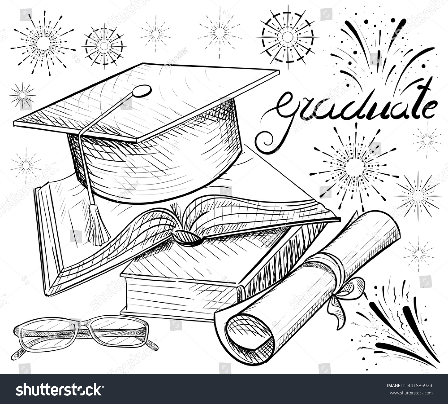 Congratulations On Graduation Graduate Cap Glasses Stock Vector ...