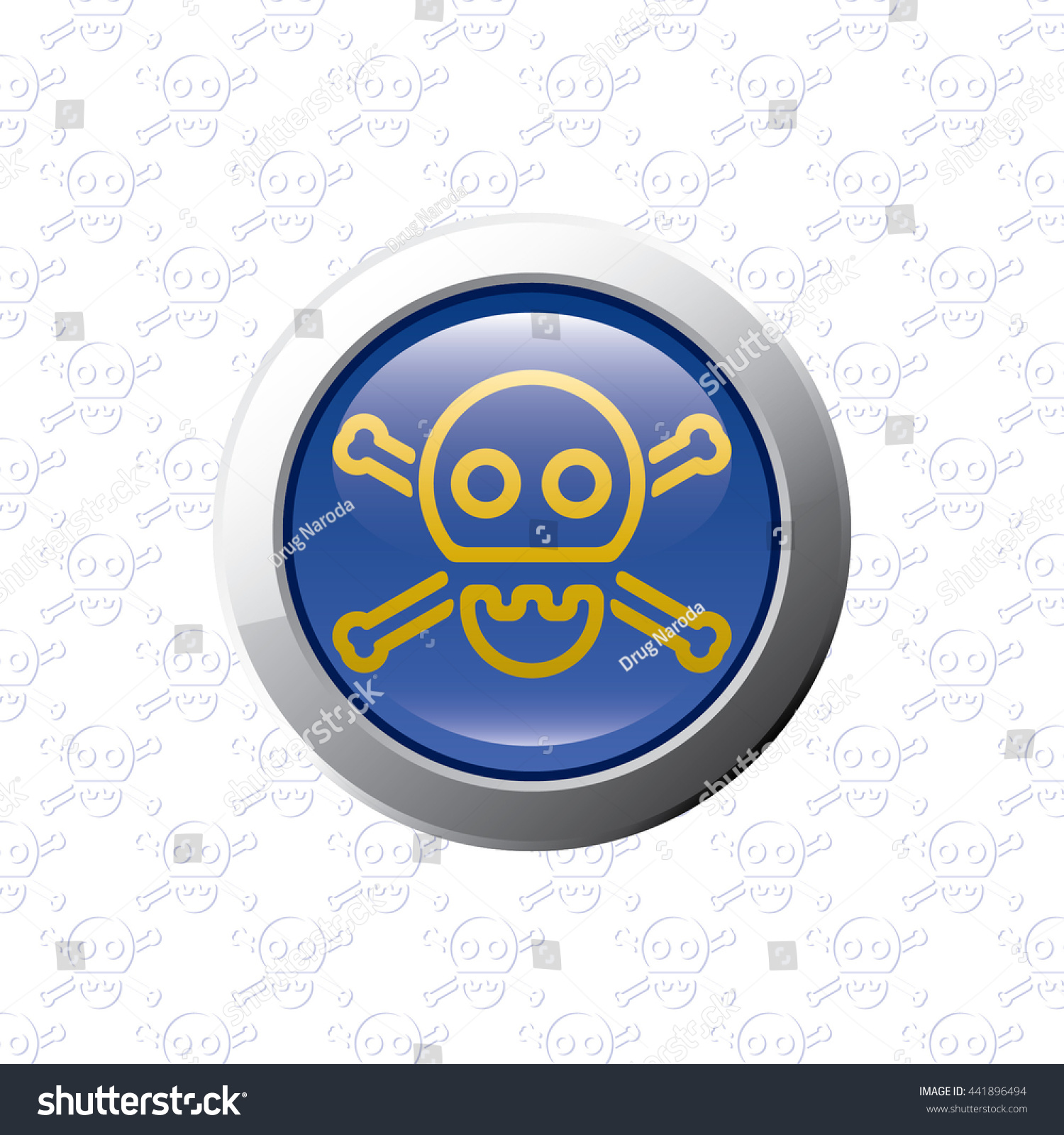 Button With Skull Symbol Danger