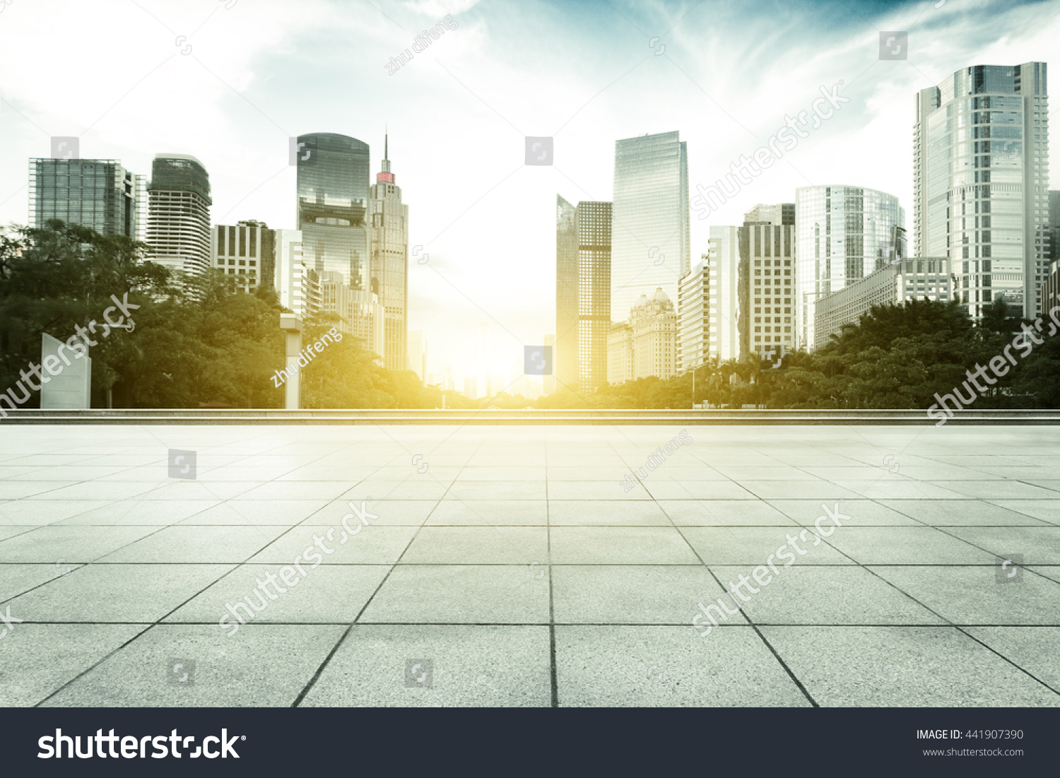 modern office buildings in guangzhou at sunrise on view from marble floor #441907390