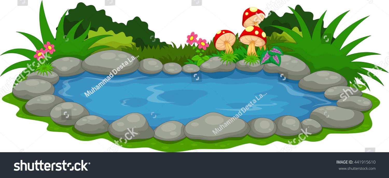 A Small Lake Cartoon Stock Vector 441915610 : Shutterstock
