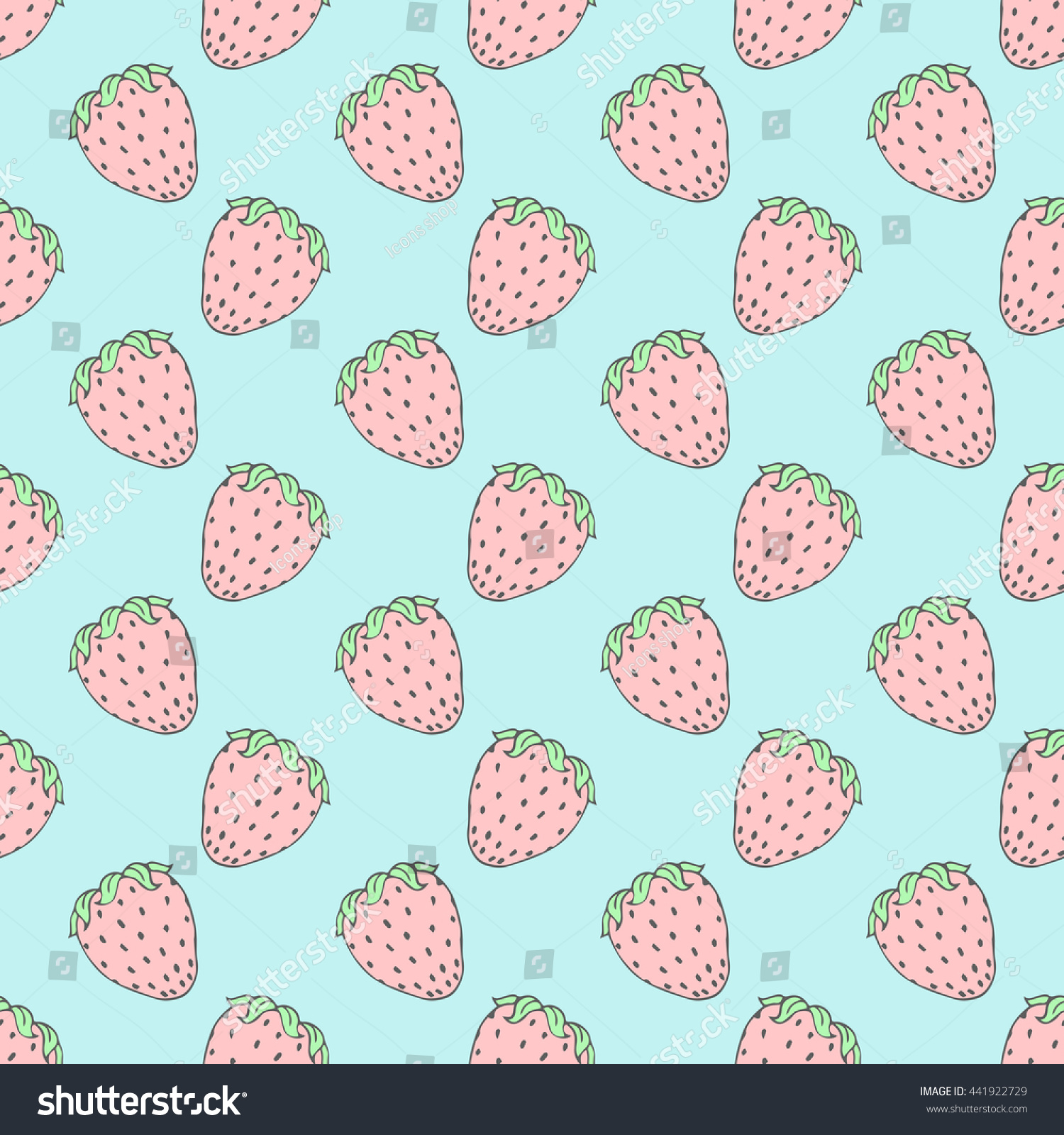 seamless background pink strawberries cute vector stock