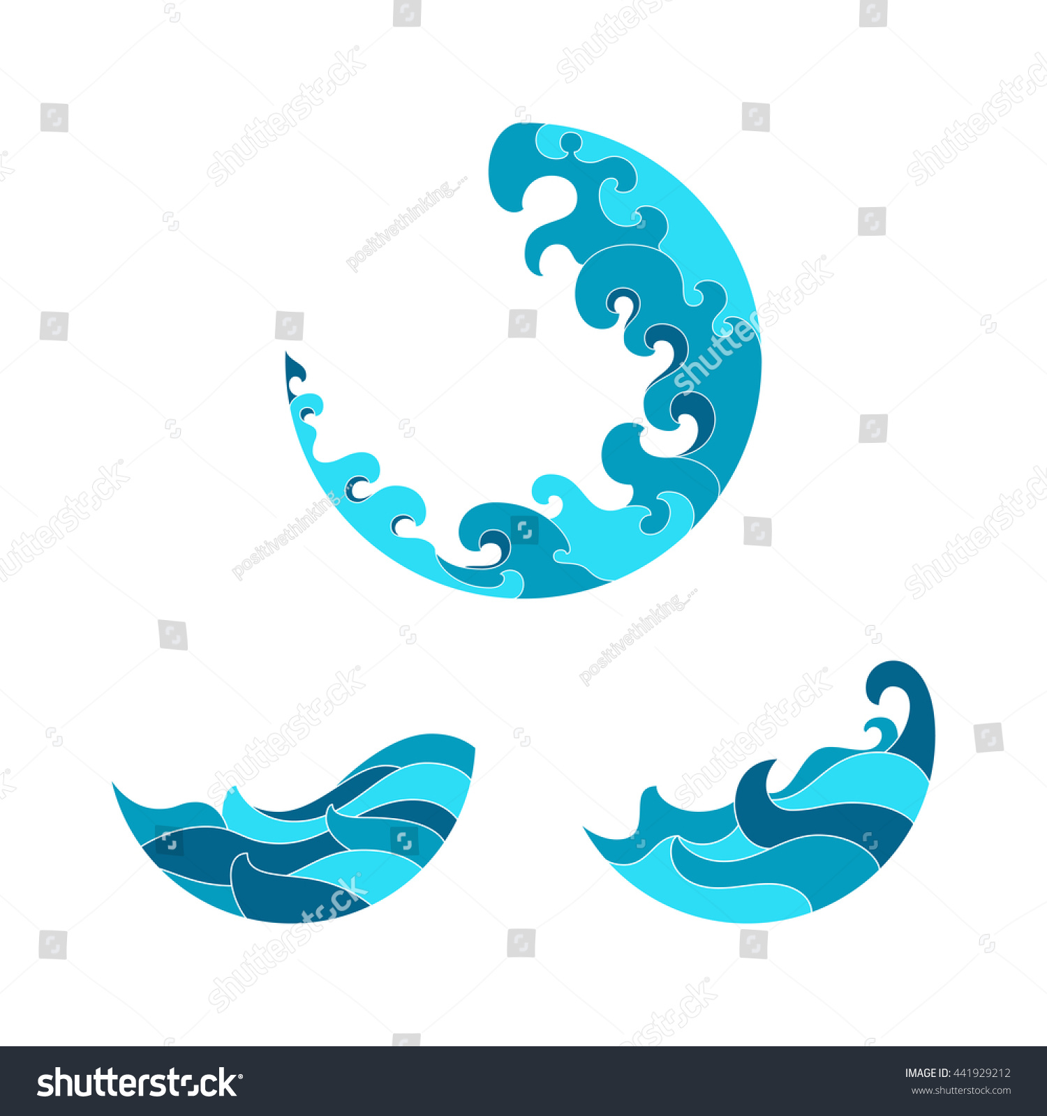 Ocean waves set isolated on white stock vector 441929212 shutterstock ocean waves set isolated on white background wave symbols set for design blue sea biocorpaavc Choice Image