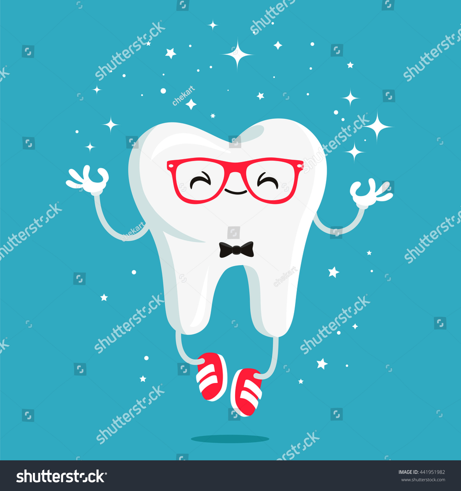 Happy Healthy Tooth Red Glasses Red Stock Vector 441951982 ...