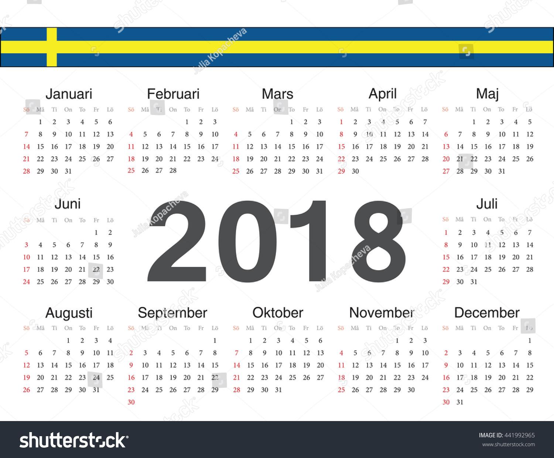 vector swedish circle calendar 2018 week starts from sunday