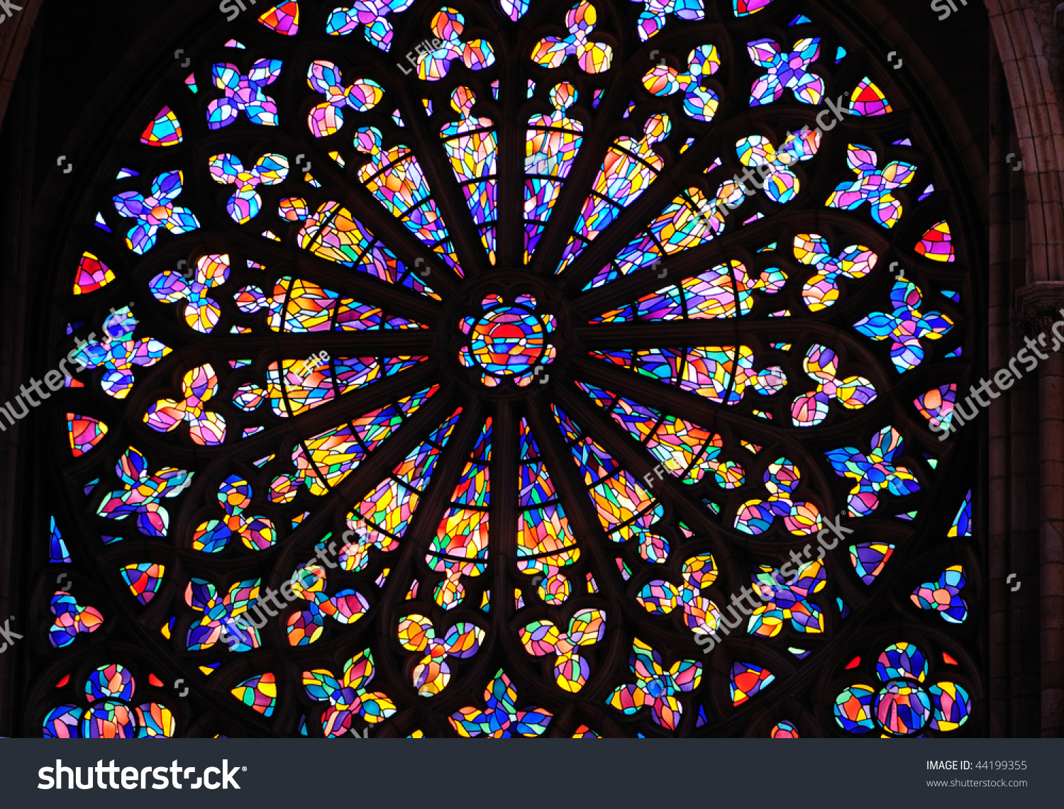 Round Stained Glass Window In Cathedral In St Malo