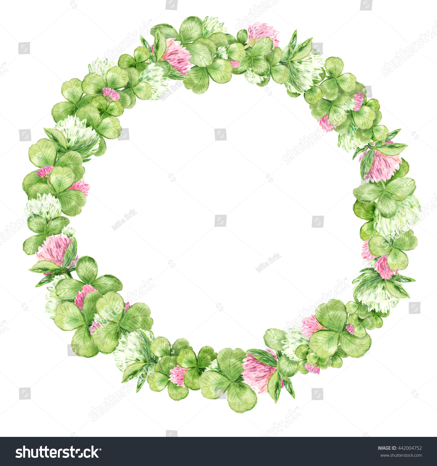 Watercolor Wreath Pink White Flowers Clovers Stock Illustration