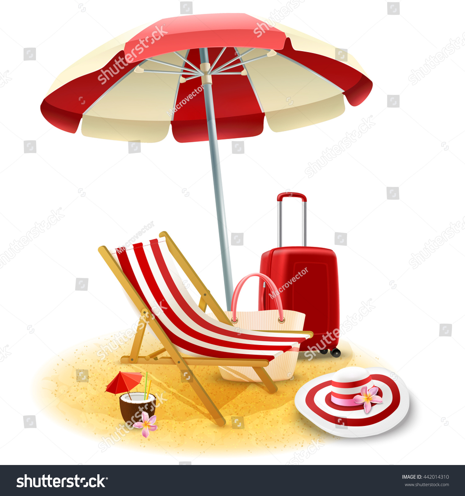 Beach Deck Chair Umbrella Suitcase Cocktail Stock Vector