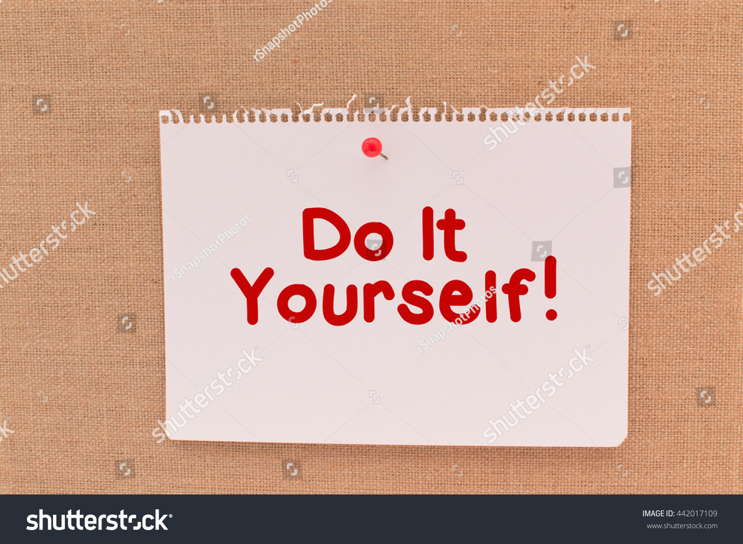 Do yourself notebook paper hanging on canvas stock photo royalty do it yourselfnotebook paper hanging on canvas board red thumb tack solutioingenieria Images