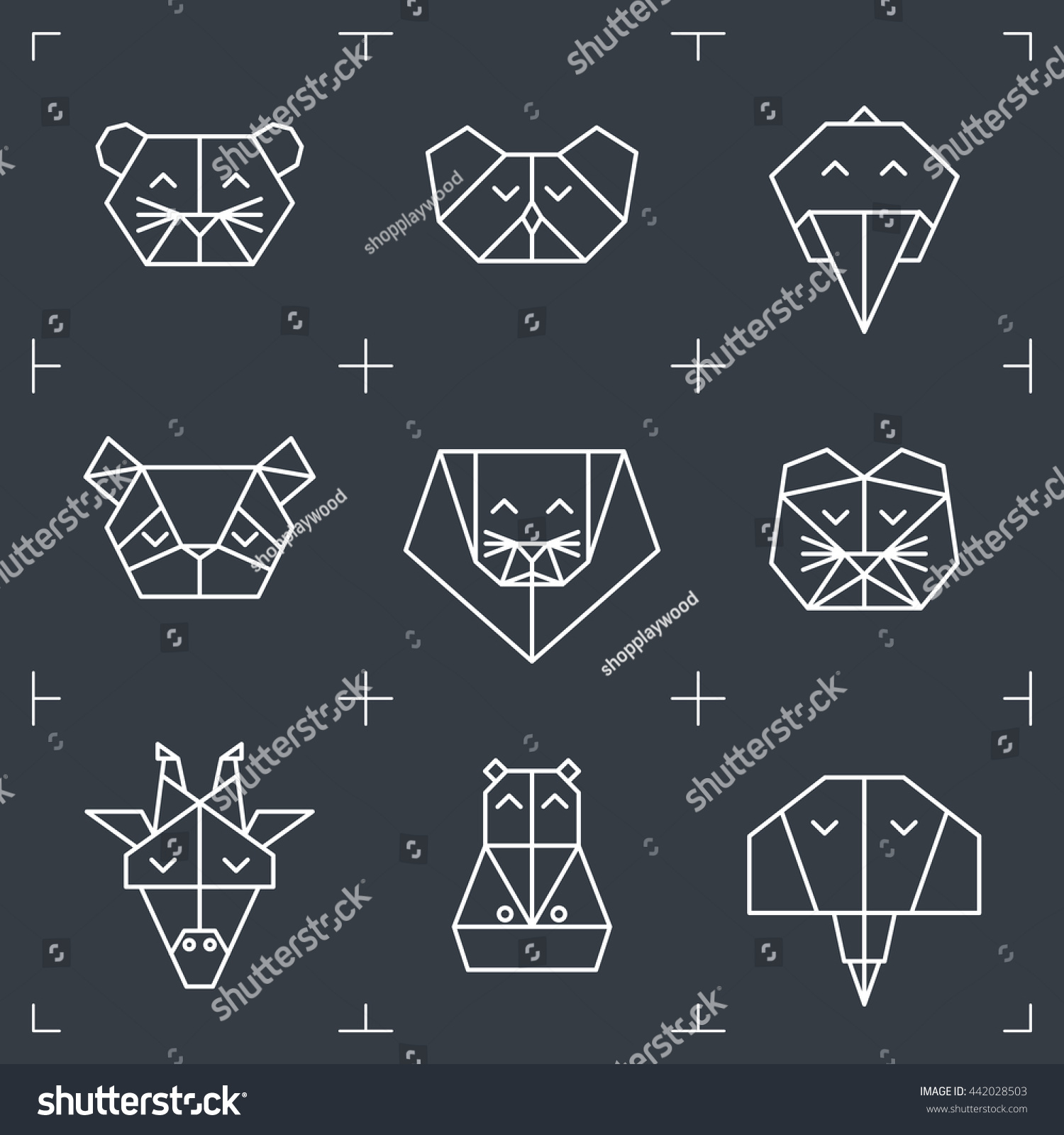 Tiger head triangular icon geometric trendy stock vector image - Front View Animal Heads Animal Triangle Icons Vector Polygonal Animals Geometric Line Design