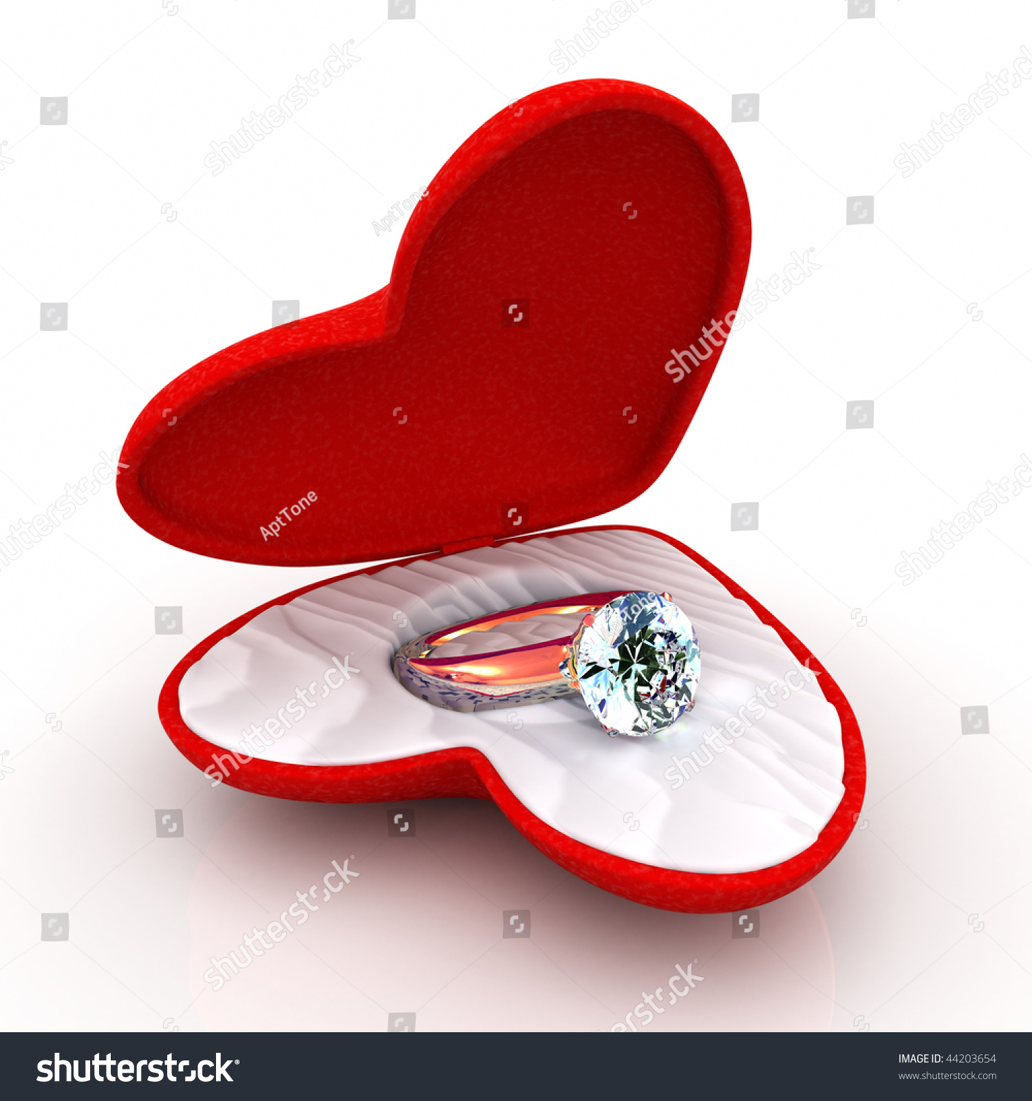 Wedding ring in heart shaped elegant box open like a for Heart shaped engagement ring box