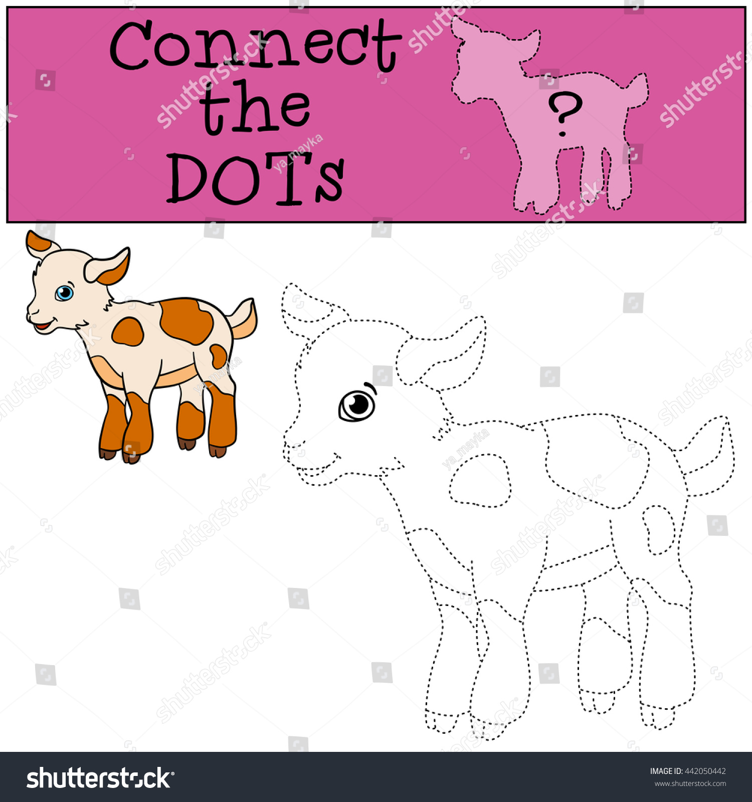 educational games kids connect dots little stock vector 442050442