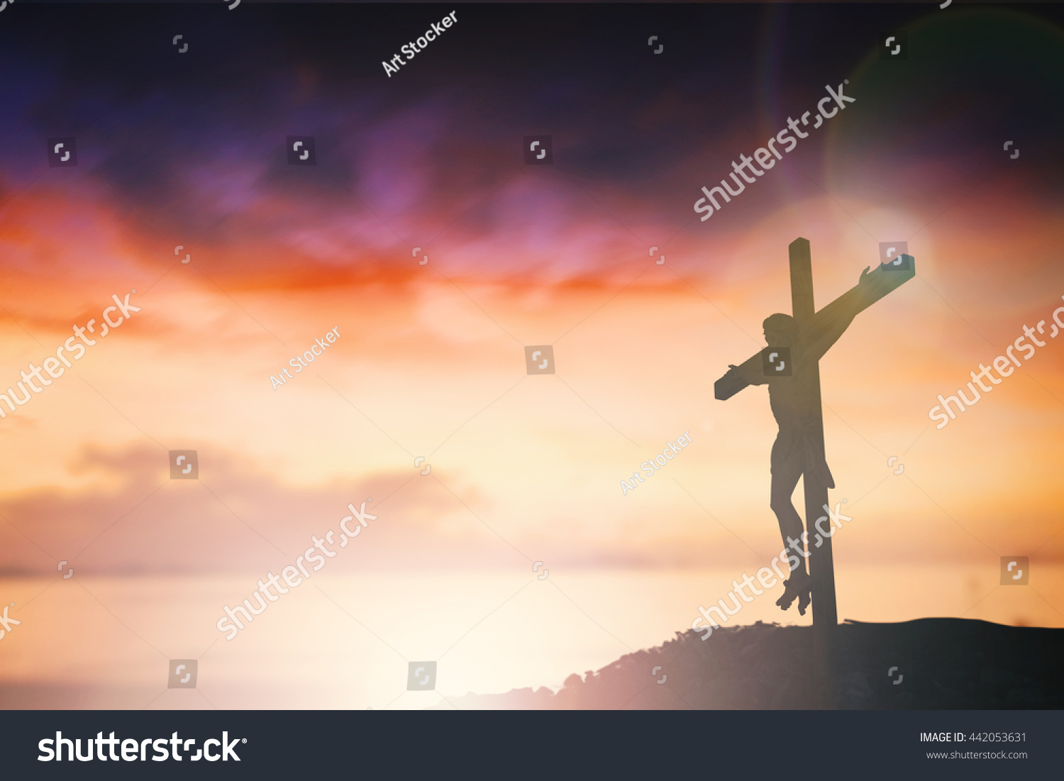 silhouette jesus christ on cross background stock photo 442053631