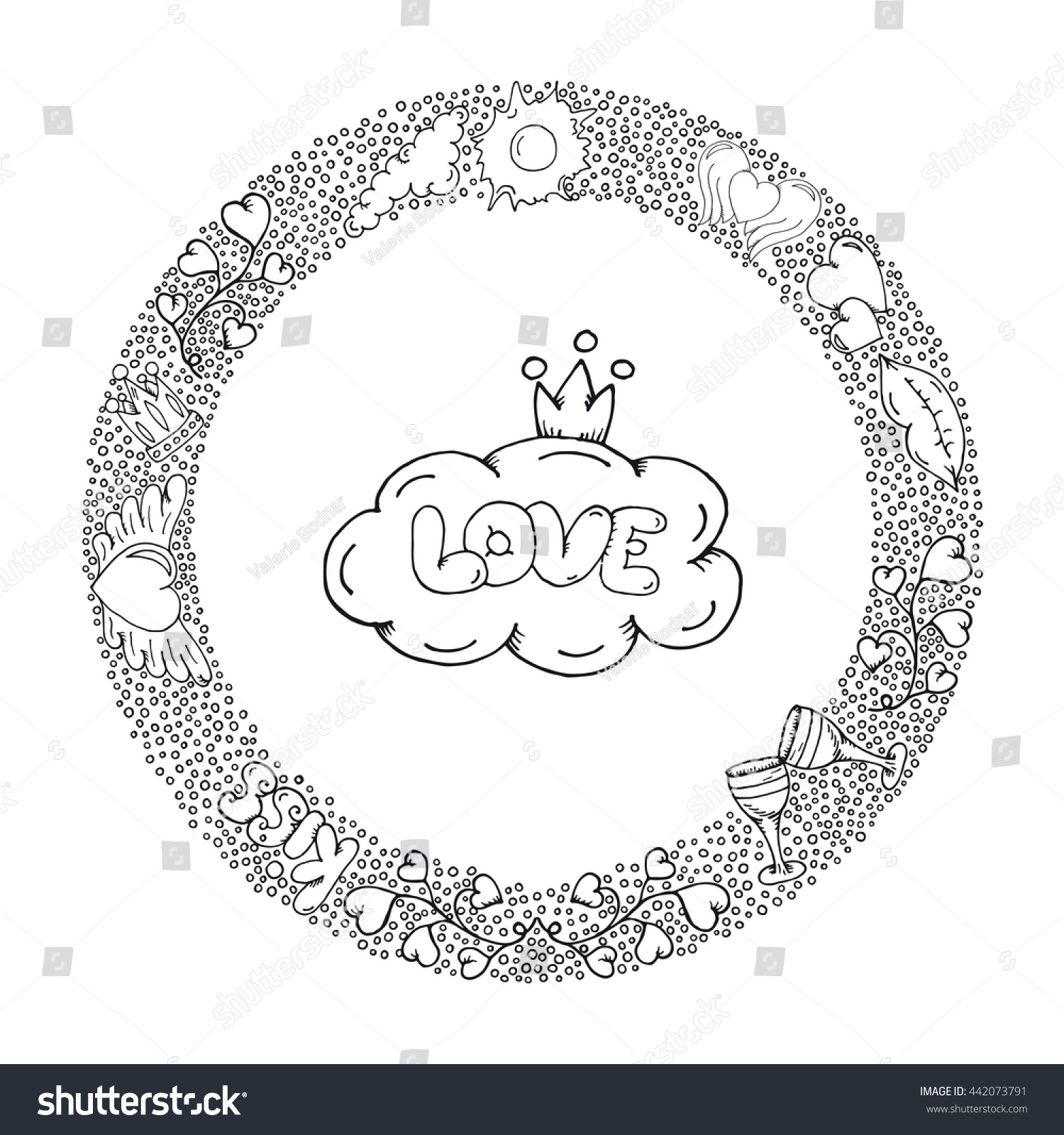 Hand Drawn Love Coloring Page Wedding Ink With Small Details