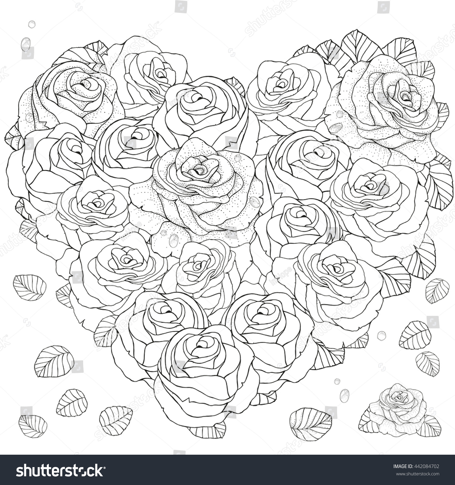 Heart Shaped Pattern For Coloring Book With Roses Floral Retro