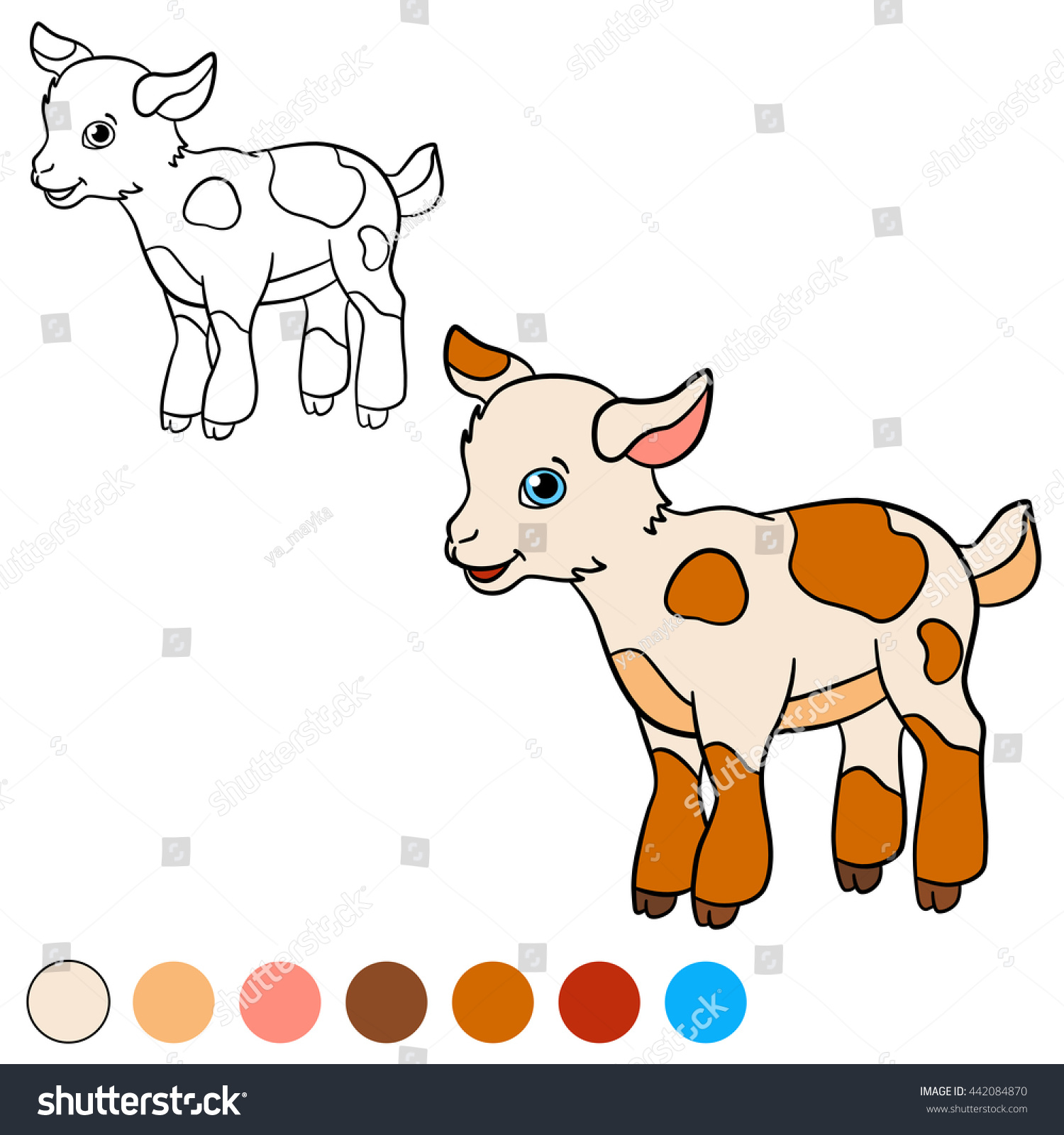 Coloring Page Color Me Goat Little Cute Baby Stands And Smiles