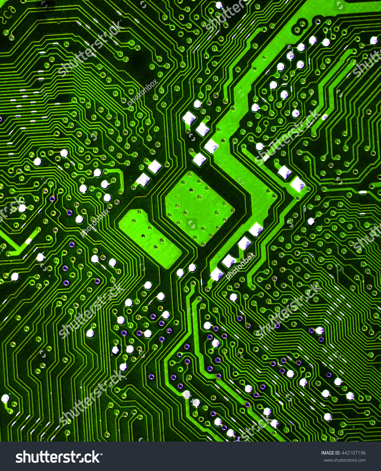 Royalty Free Green Microchip Pcb Board Integrated 442107196 Stock Electronic Circuit Chip Image Electric Computer Parts Processor Abstract Background Photo