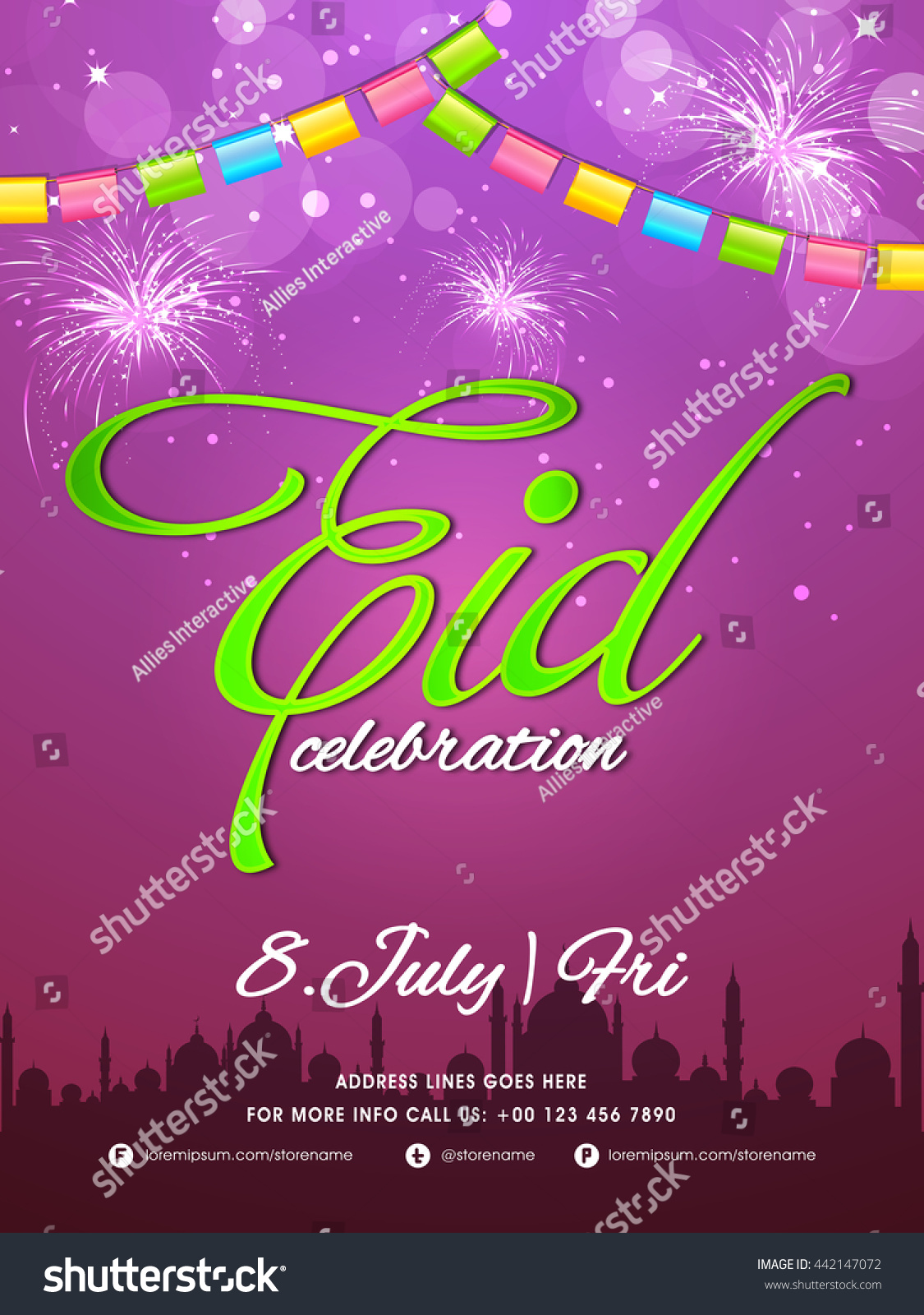 Elegant Party Celebration Flyer Glowing Banner Stock Vector ...