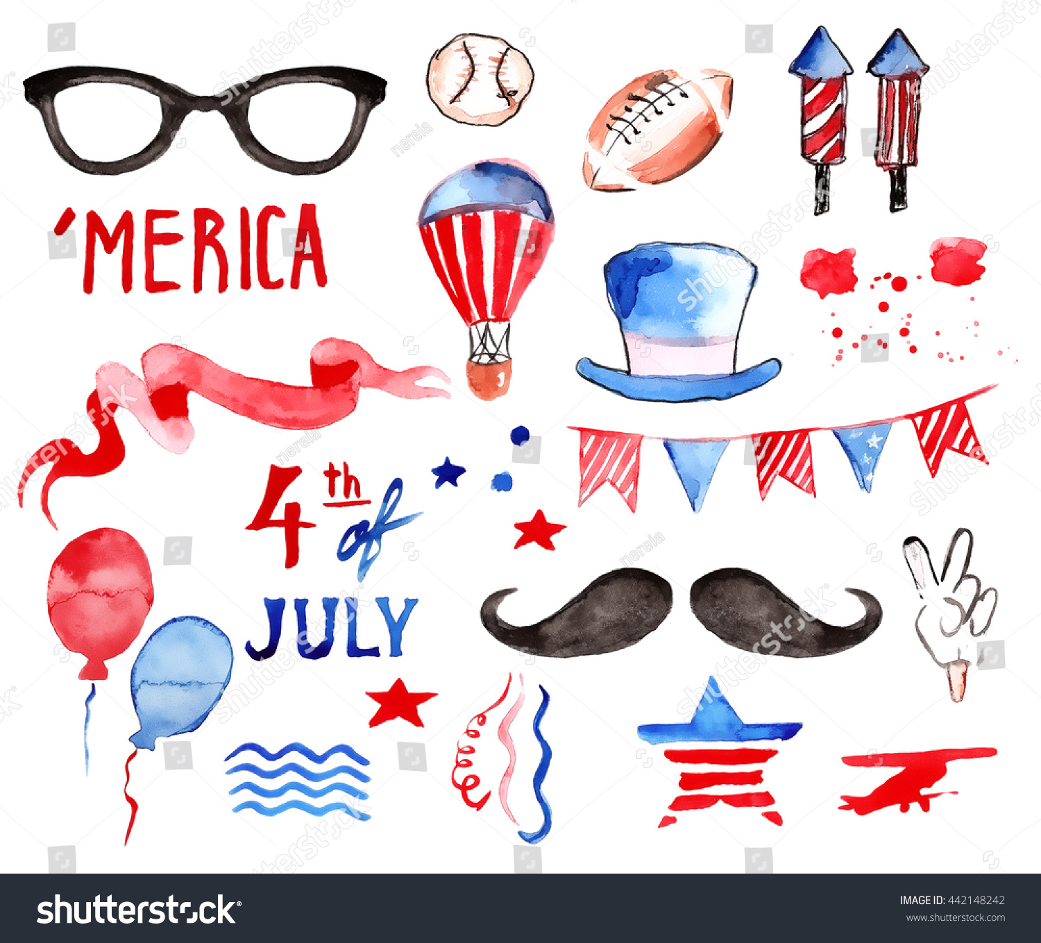 Labor Day Watercolor Collection Fourth July Stock Illustration