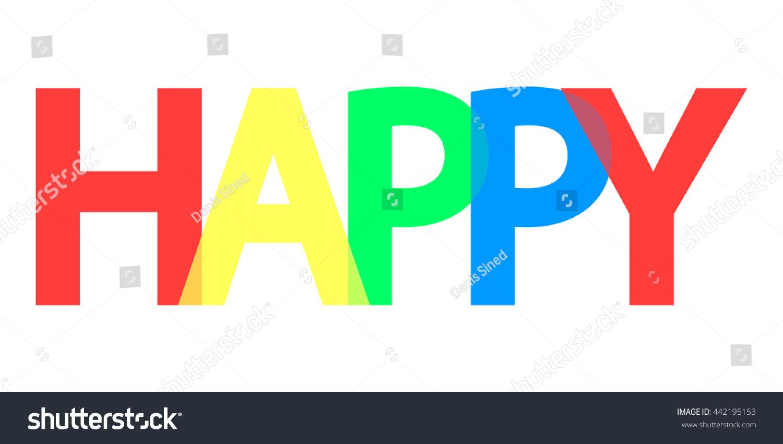 Happy word design banner template background stock vector - Text banner design ...