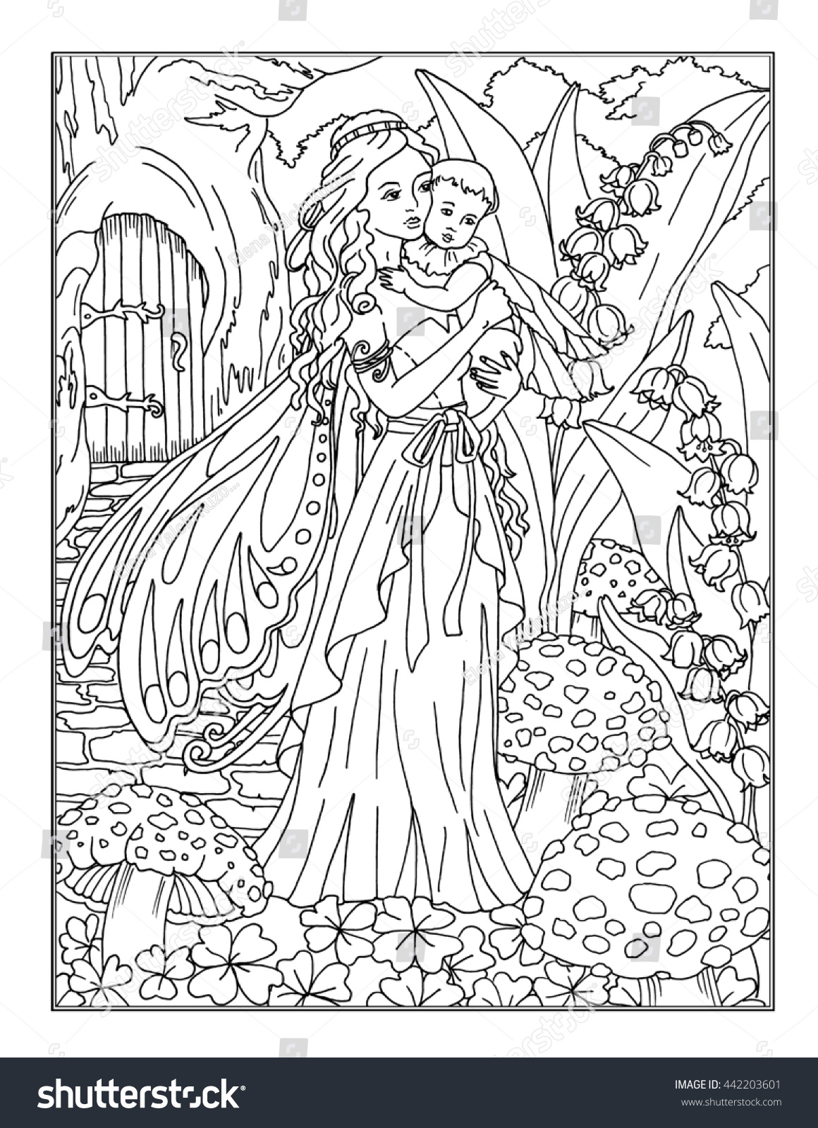 Coloring Page Enchanted Fairy Stock Illustration 442203601