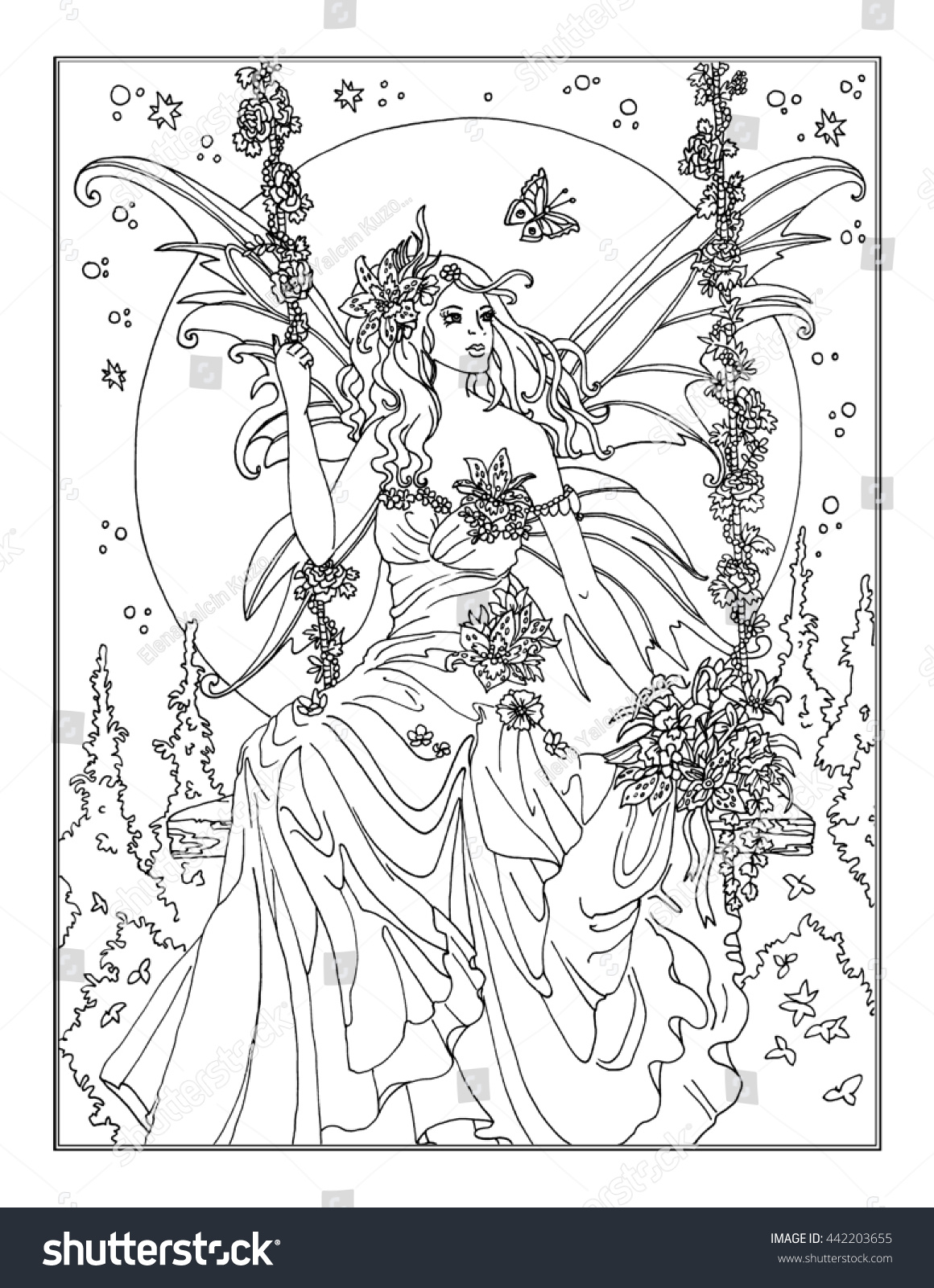 Coloring Page Enchanted Fairy Stock Illustration 442203655
