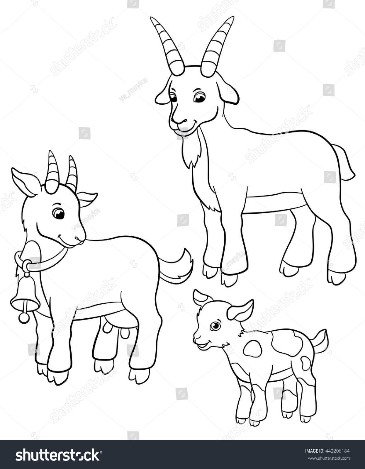 Coloring Pages Farm Animals Goat Family Stock Vector