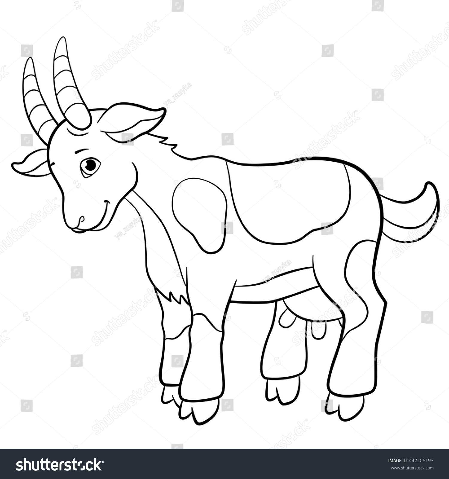 Coloring Pages Farm Animals Cute Goat Stock Vector 442206193 ...
