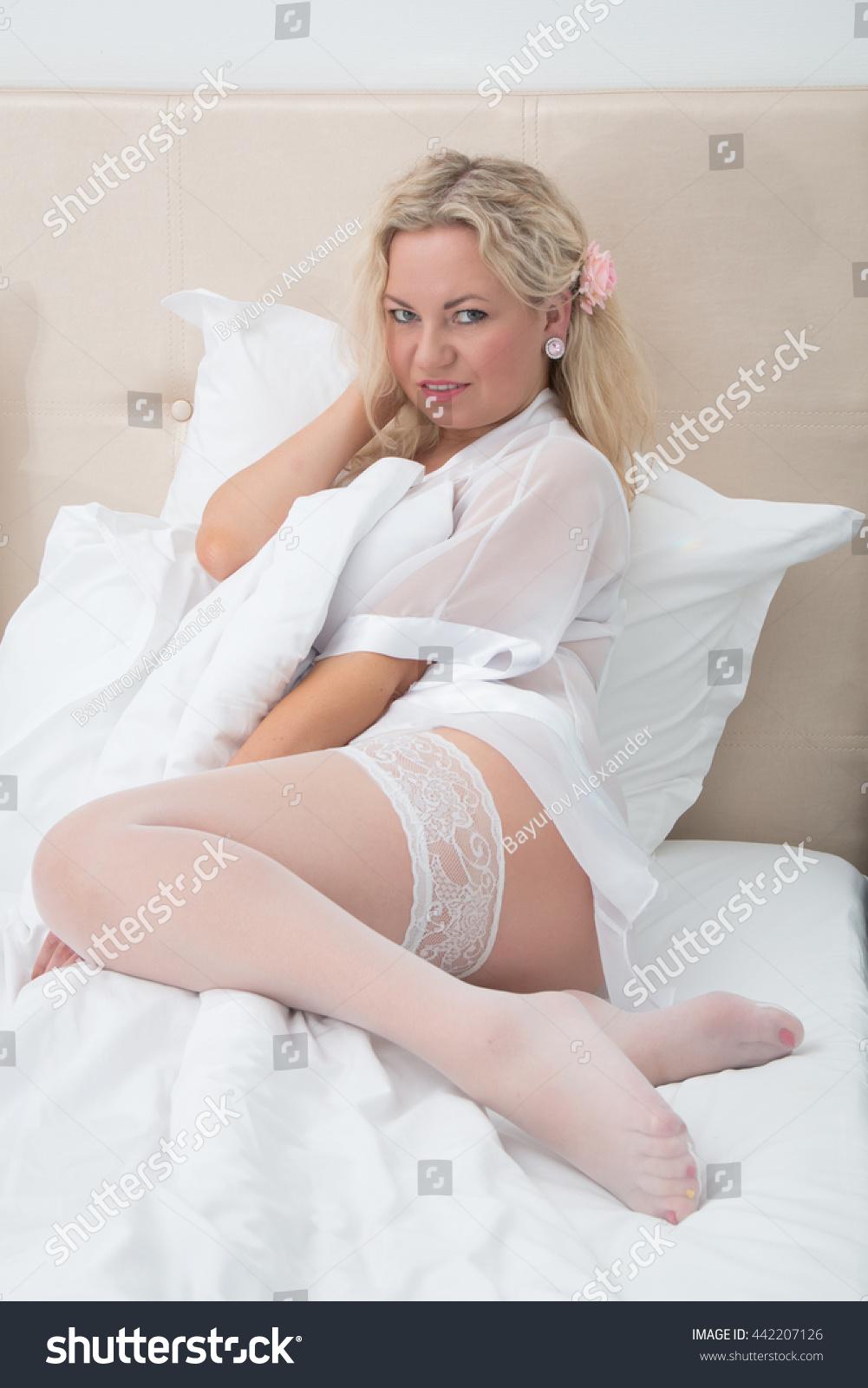 Sexy Woman White Lingerie Stockings Portrait Stock Photo Edit Now 442207126