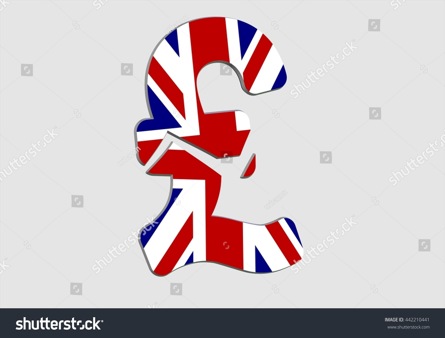 Broken Gb Pound Currency Sign Gb Stock Illustration 442210441