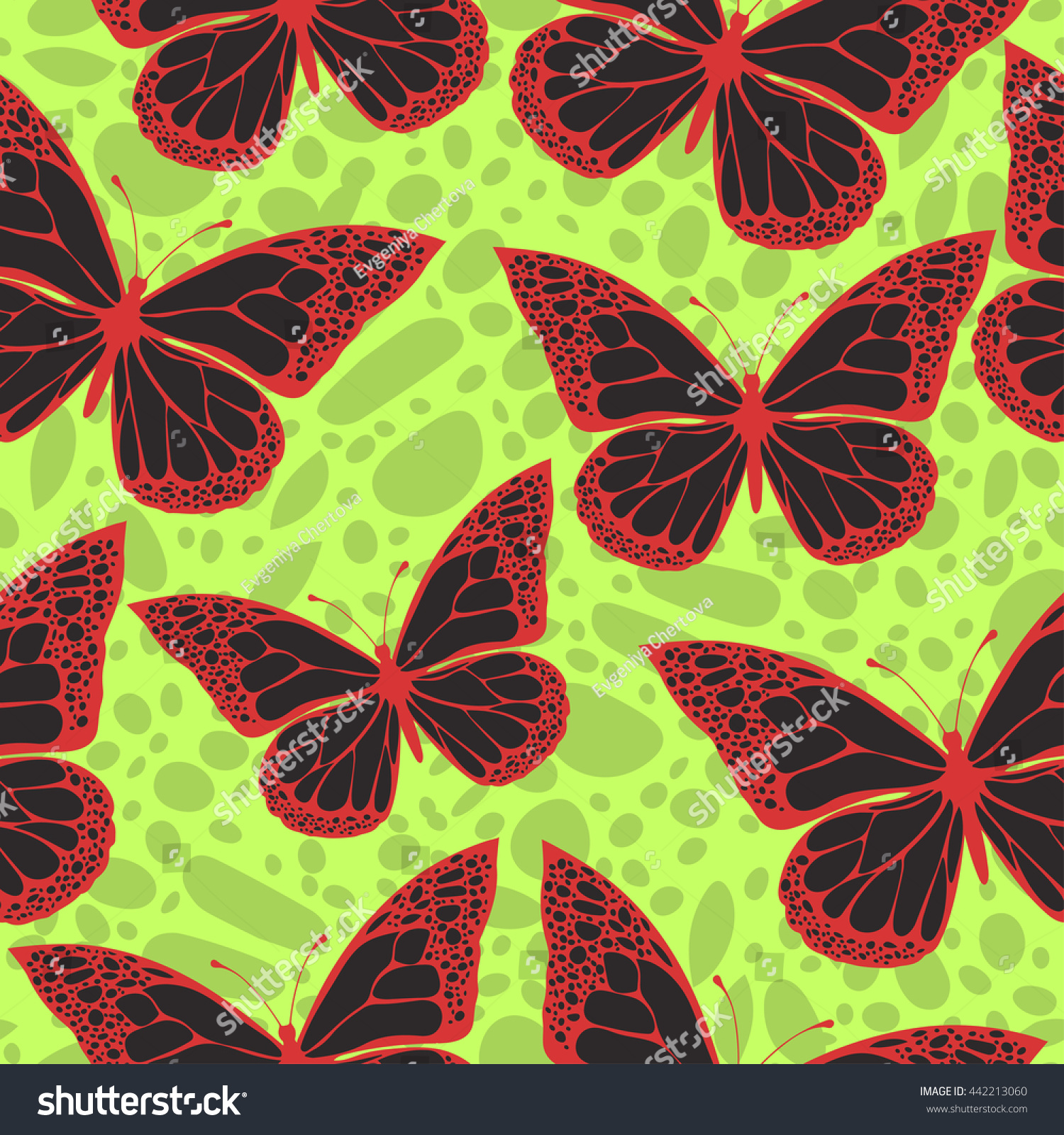 butterflies colored ornament seamless pattern bright stock vector