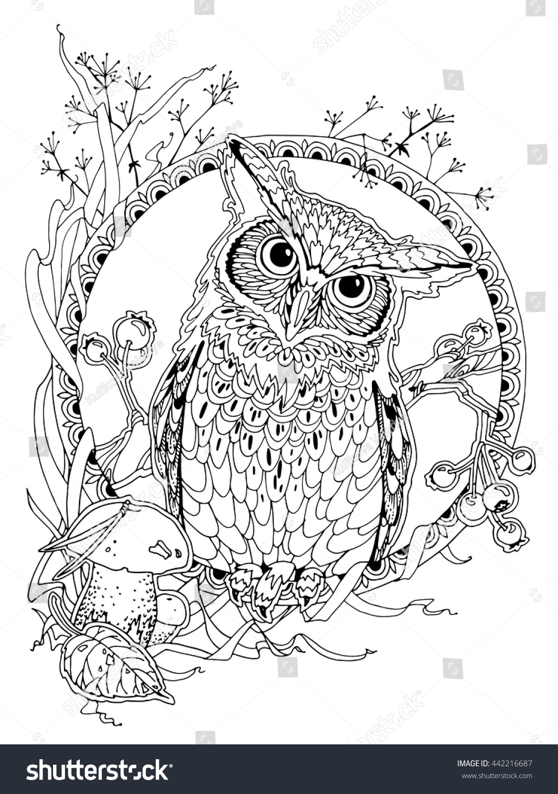 coloring page adults owl forest elements stock vector 442216687