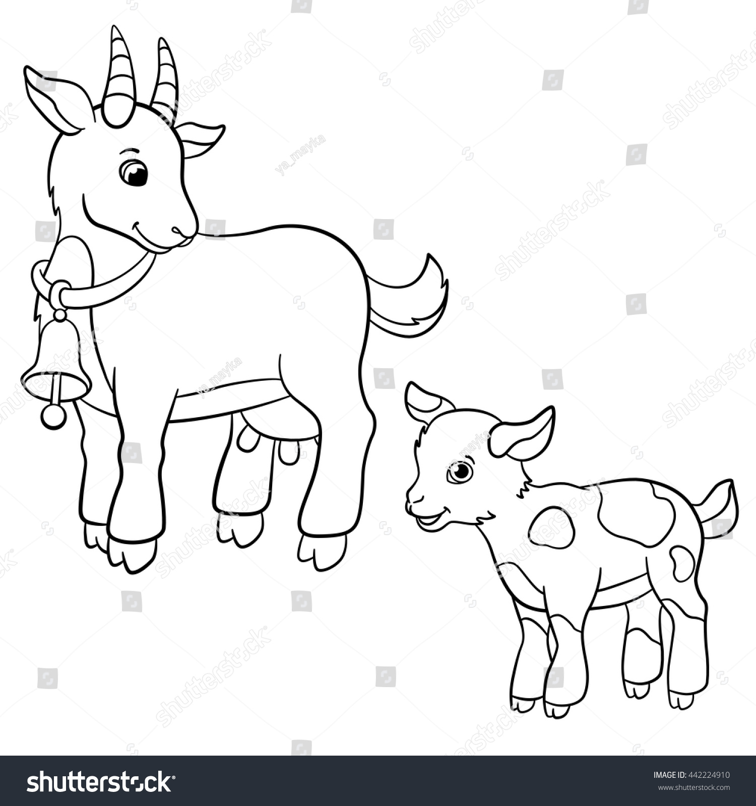 Coloring Pages Farm Animals Cute Mother Stock Vector