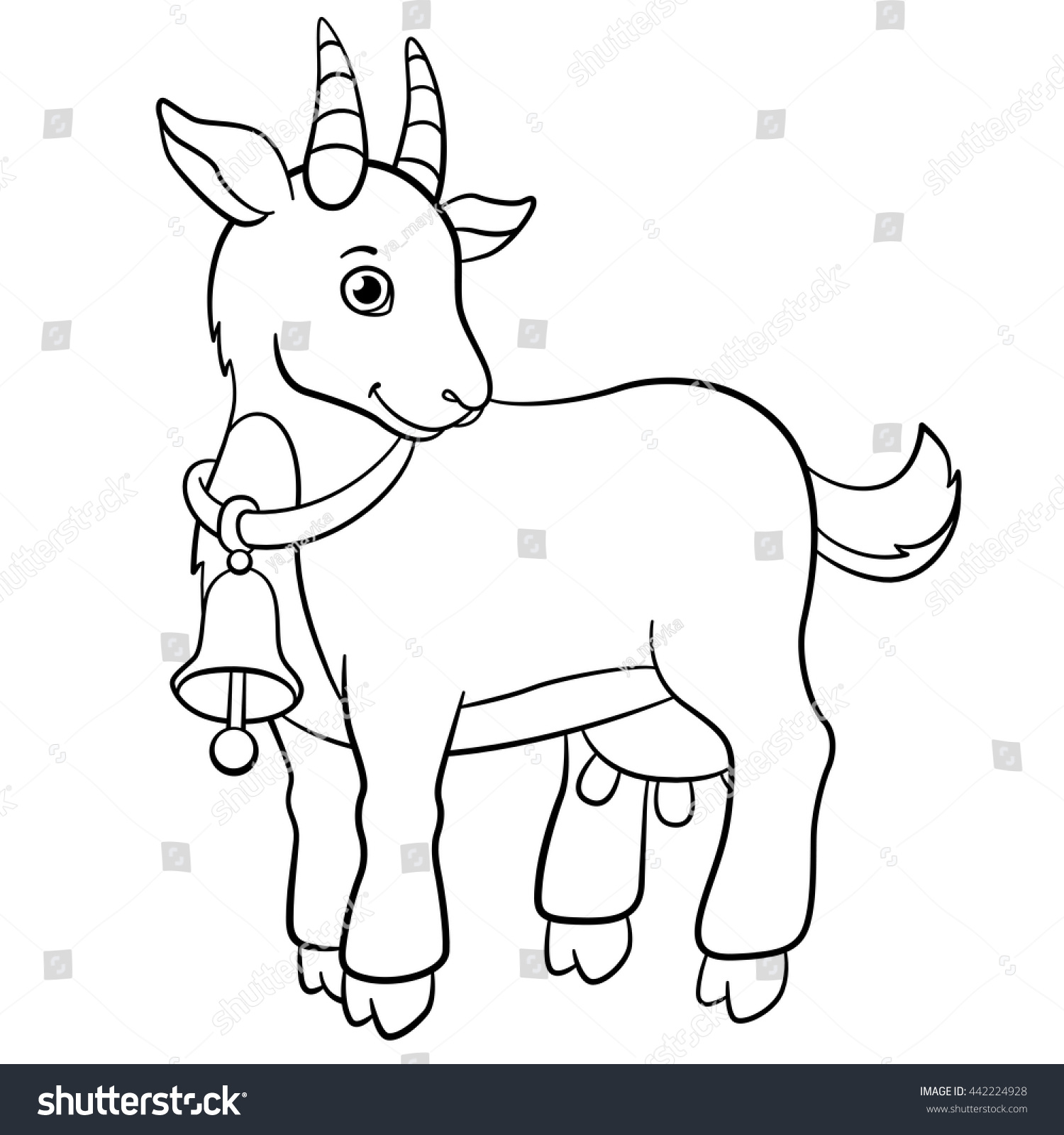 coloring pages farm animals little cute stock vector 442224928