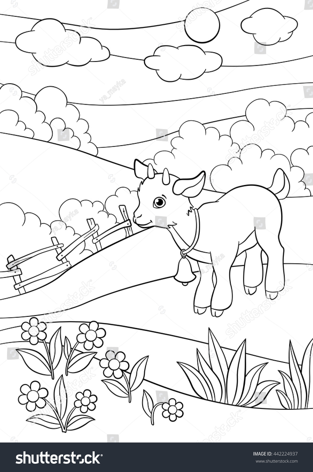 coloring pages farm animals little cute stock vector 442224937