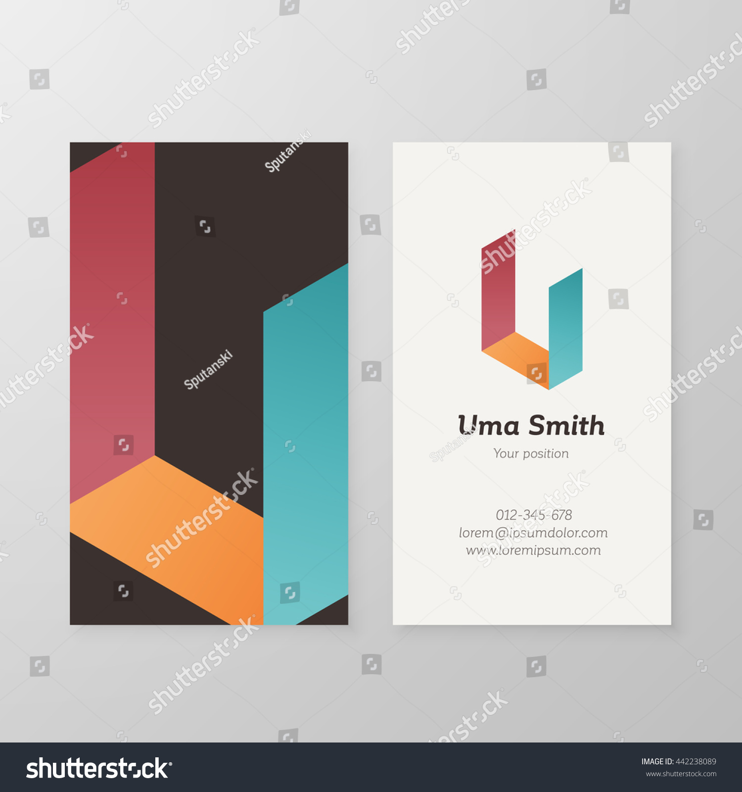 business card isometric letter u template stock vector