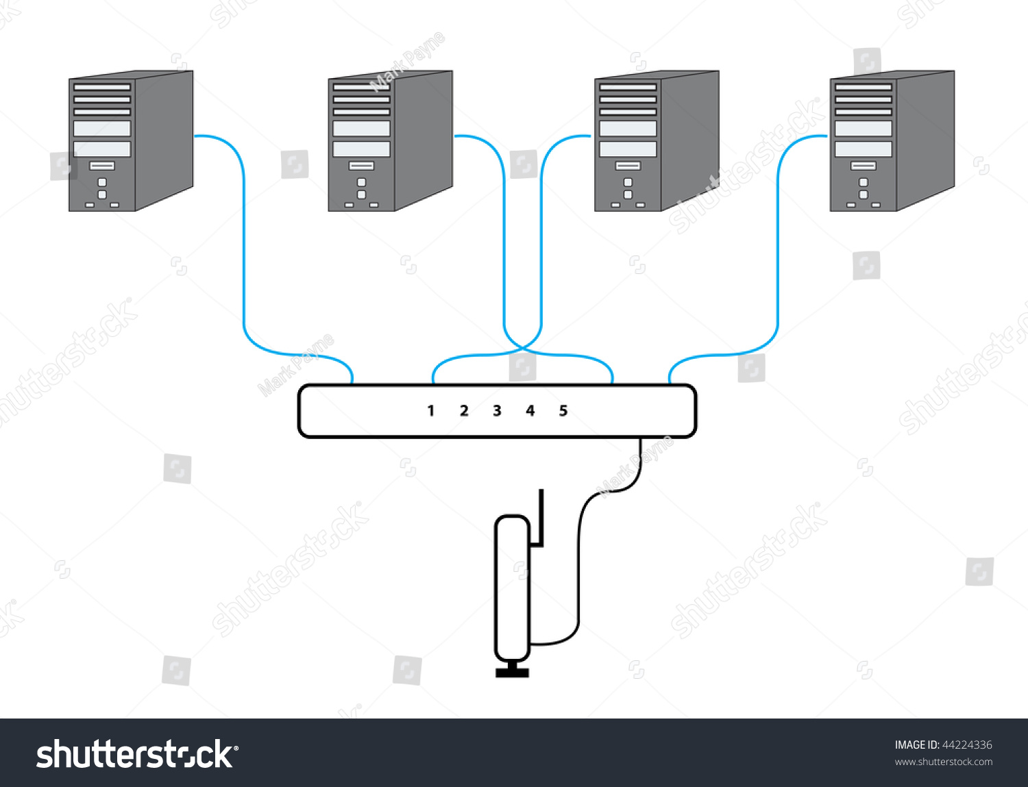 Computer Network Sectional Diagram Four P Cs Stock Vector Royalty