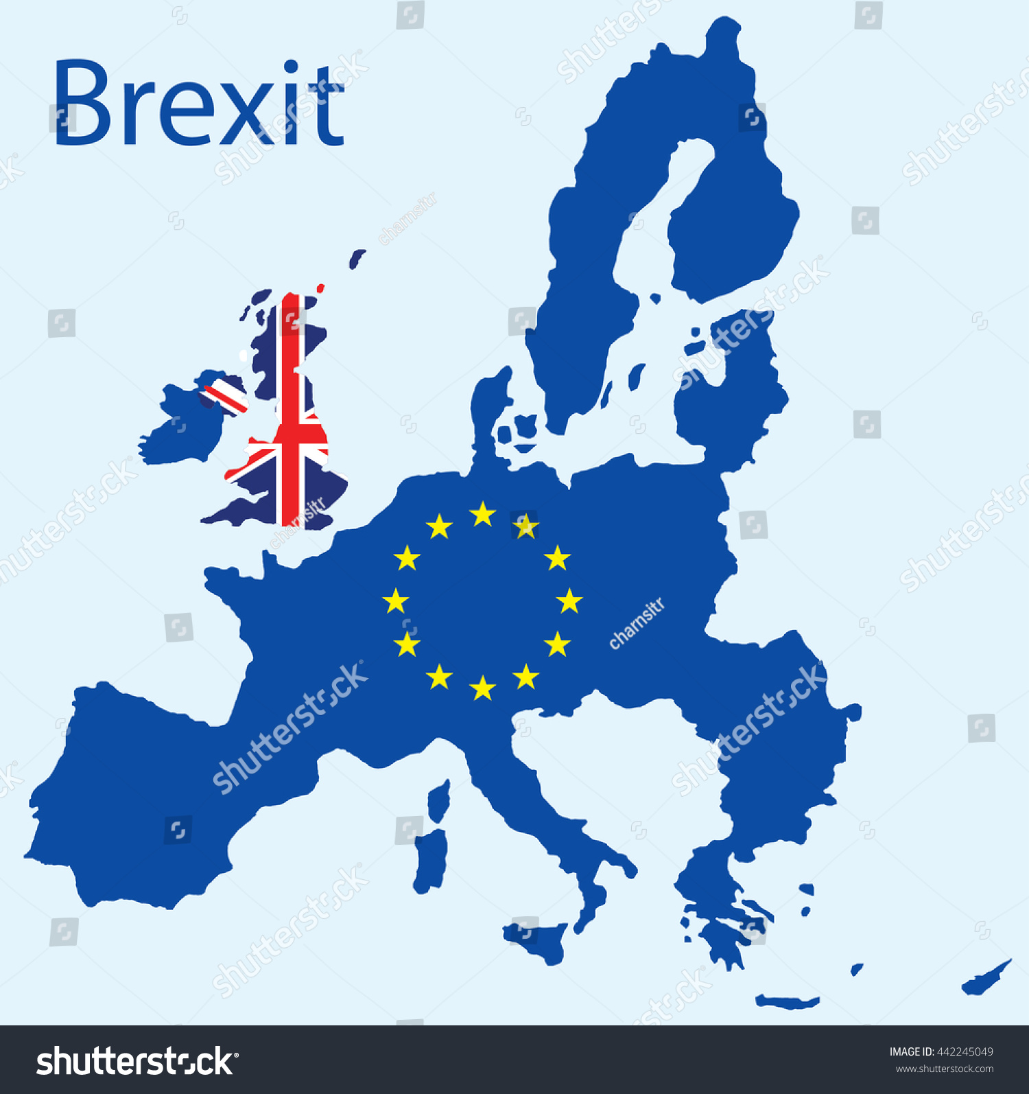 vector map uk leaving eu brexit stock vector 442245049 shutterstock. Black Bedroom Furniture Sets. Home Design Ideas