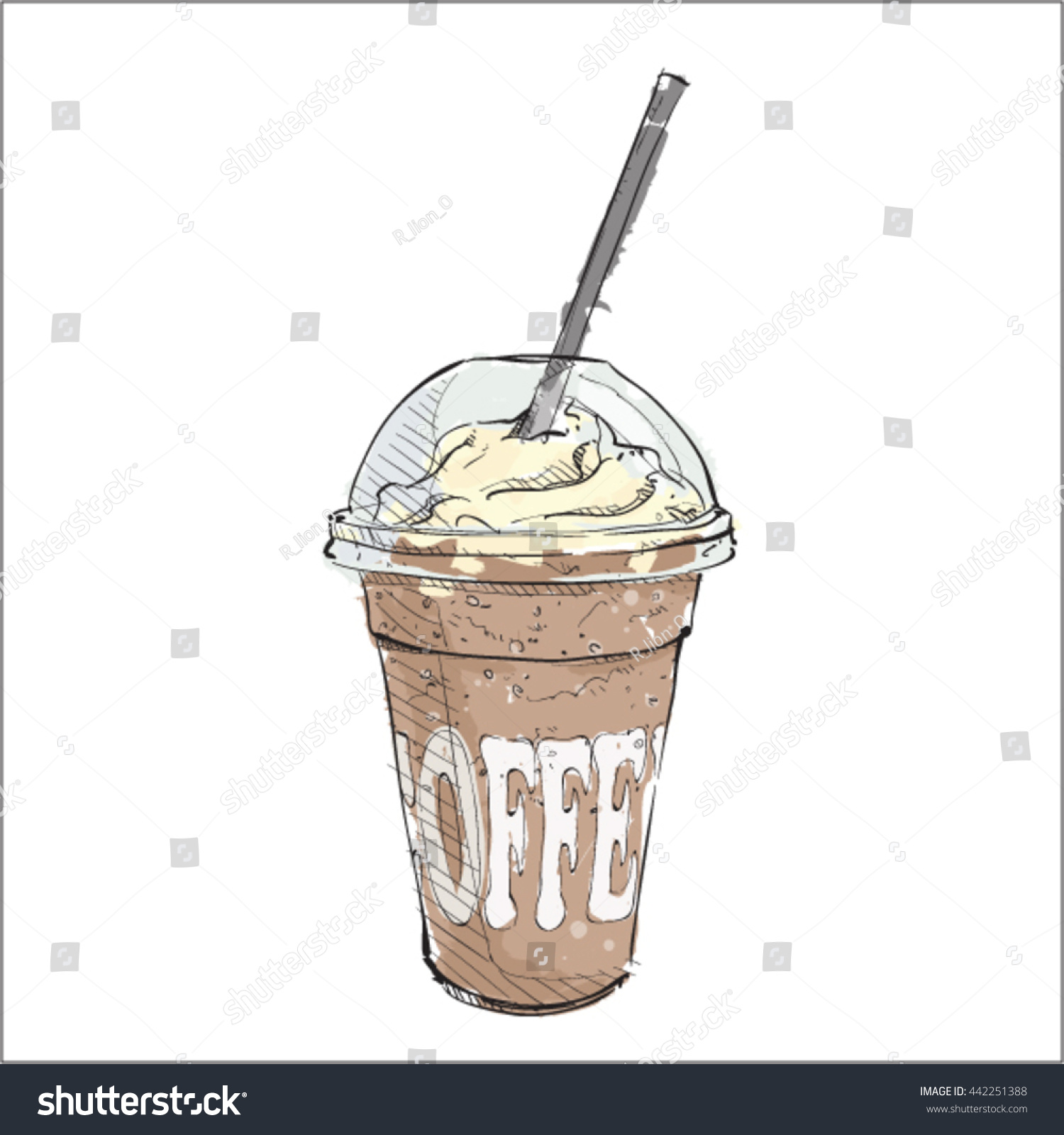 Coffee cup sketch - Watercolor Coffee Cup Sketch Style Vector