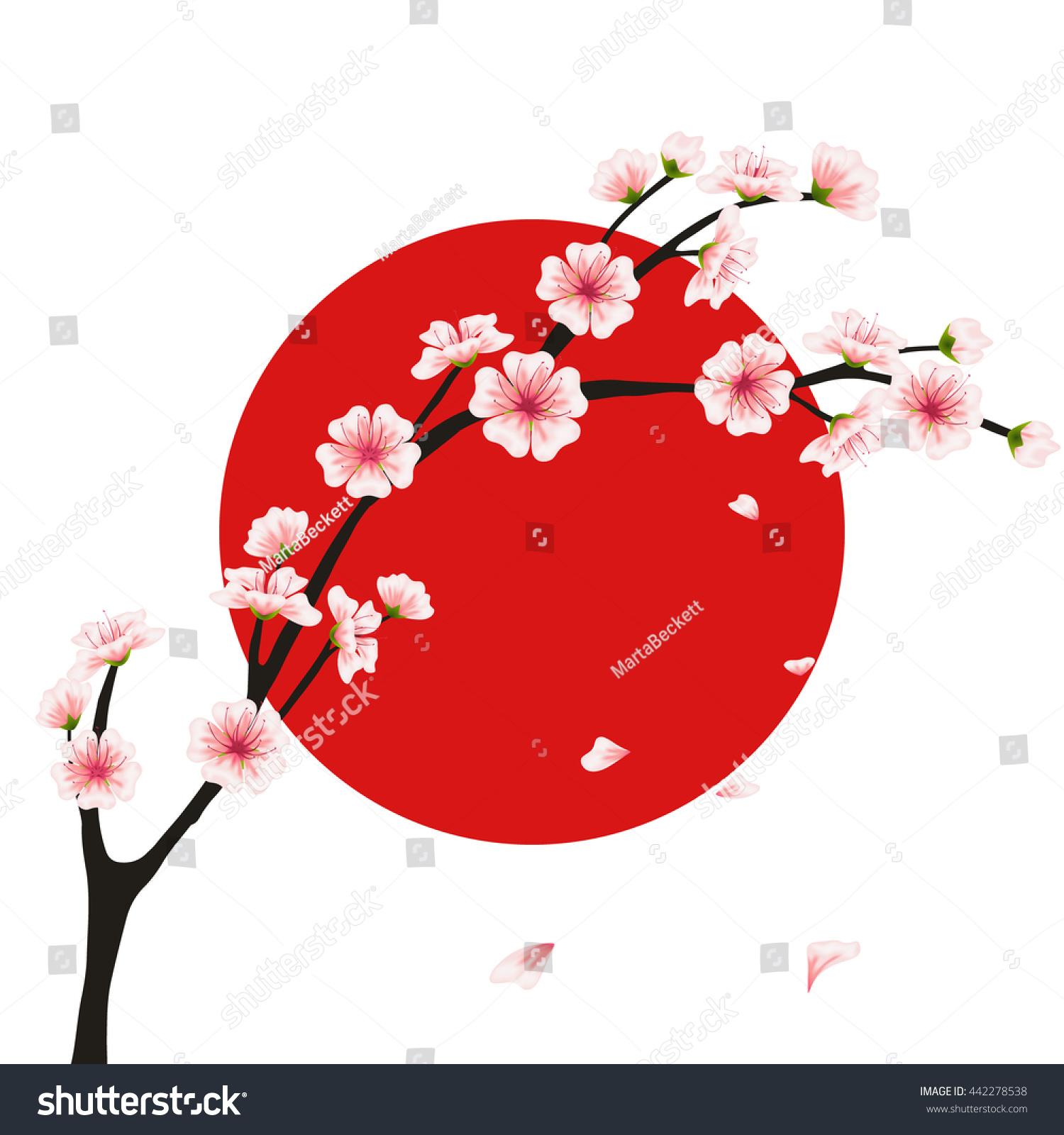 Sakura Branch Flag Realistic Floral Asian Stock Illustration ...